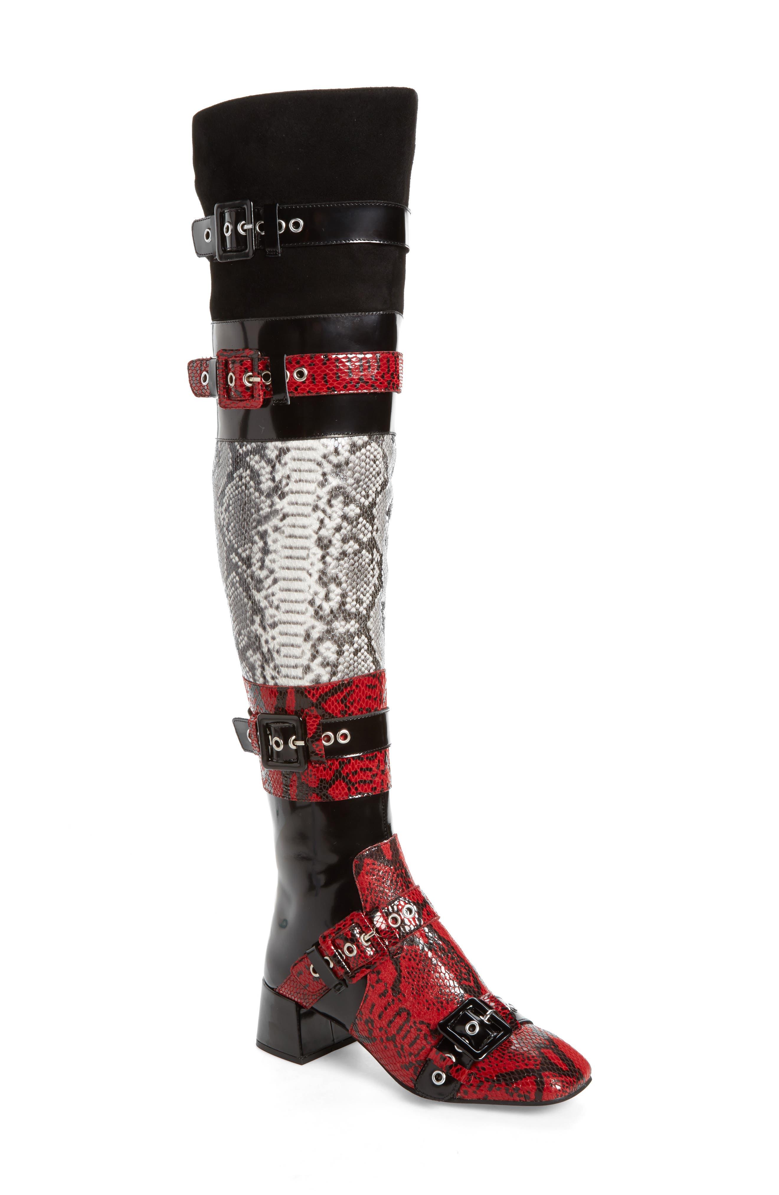 Ark Over the Knee Boot,                         Main,                         color, Red-Black/ White Snake/ Multi