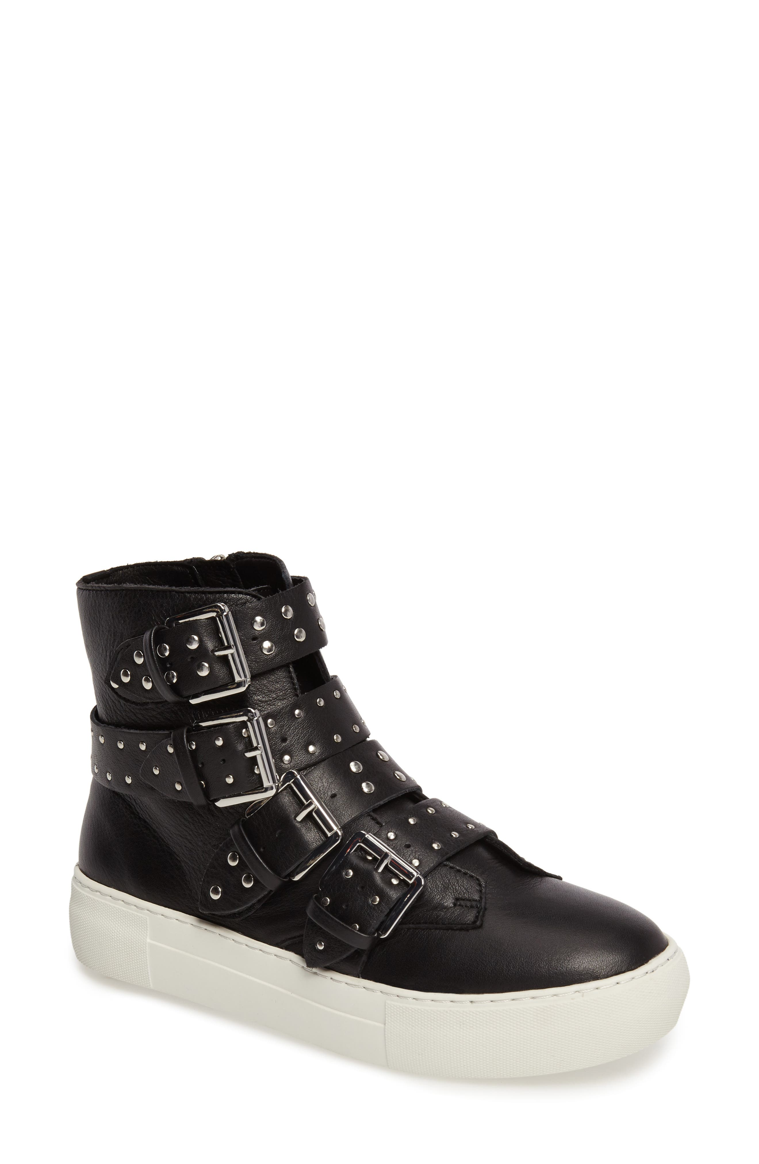Aghast Buckle Bootie,                         Main,                         color, Black Leather