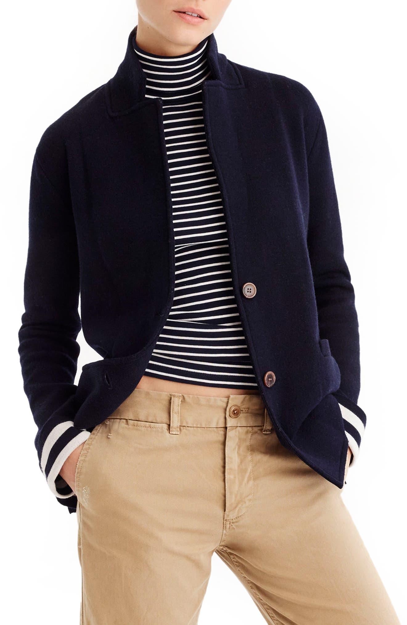Stripe Lining Merino Wool Sweater Blazer,                         Main,                         color, Ivory/ Navy