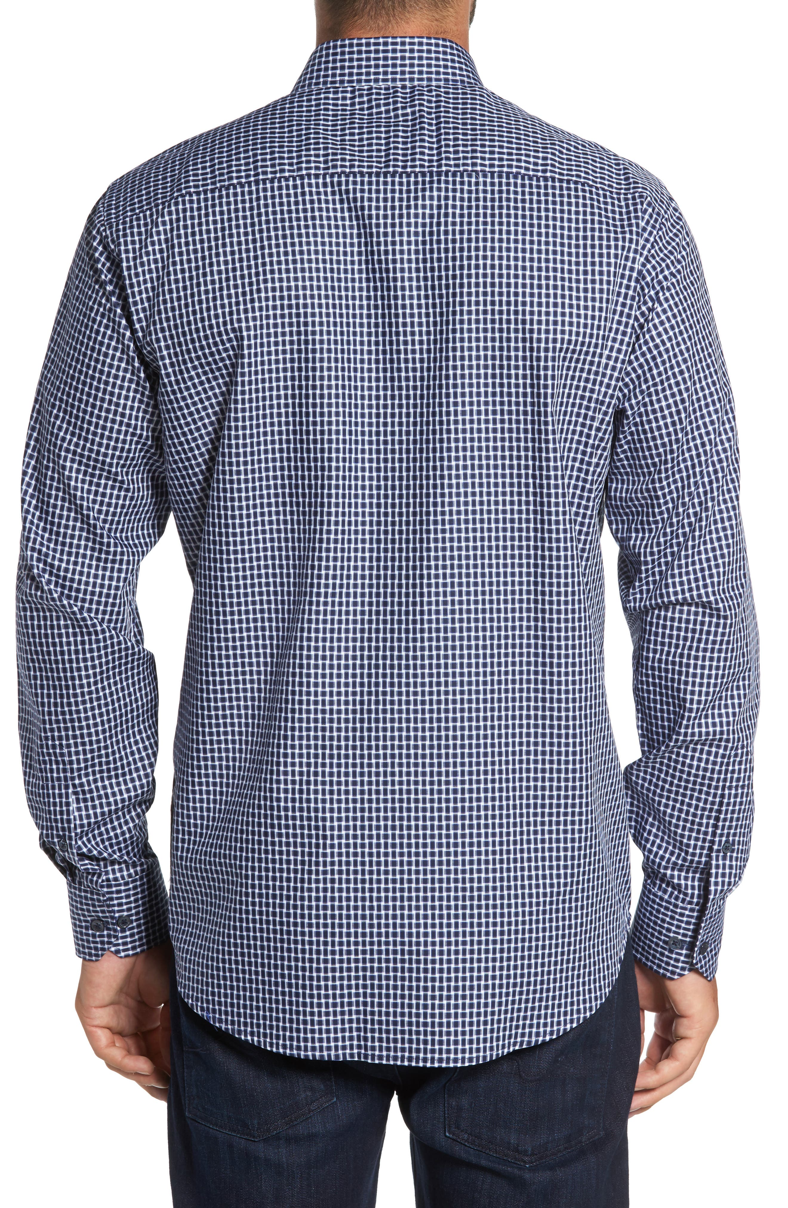 Classic Fit Geo Patterned Sport Shirt,                             Alternate thumbnail 2, color,                             Navy