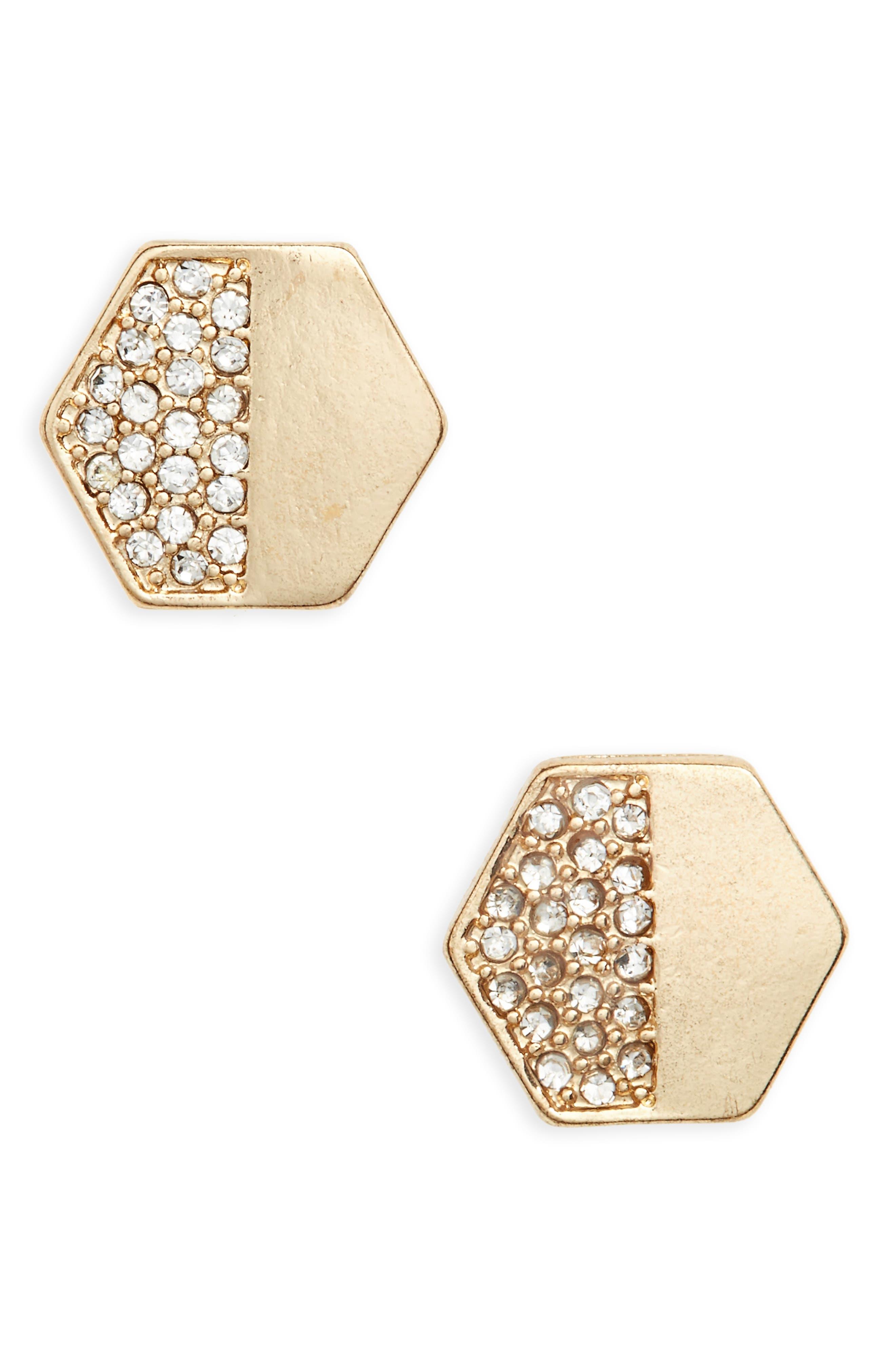 Crystal Hexagon Stud Earrings,                         Main,                         color, Gold/ Crystal
