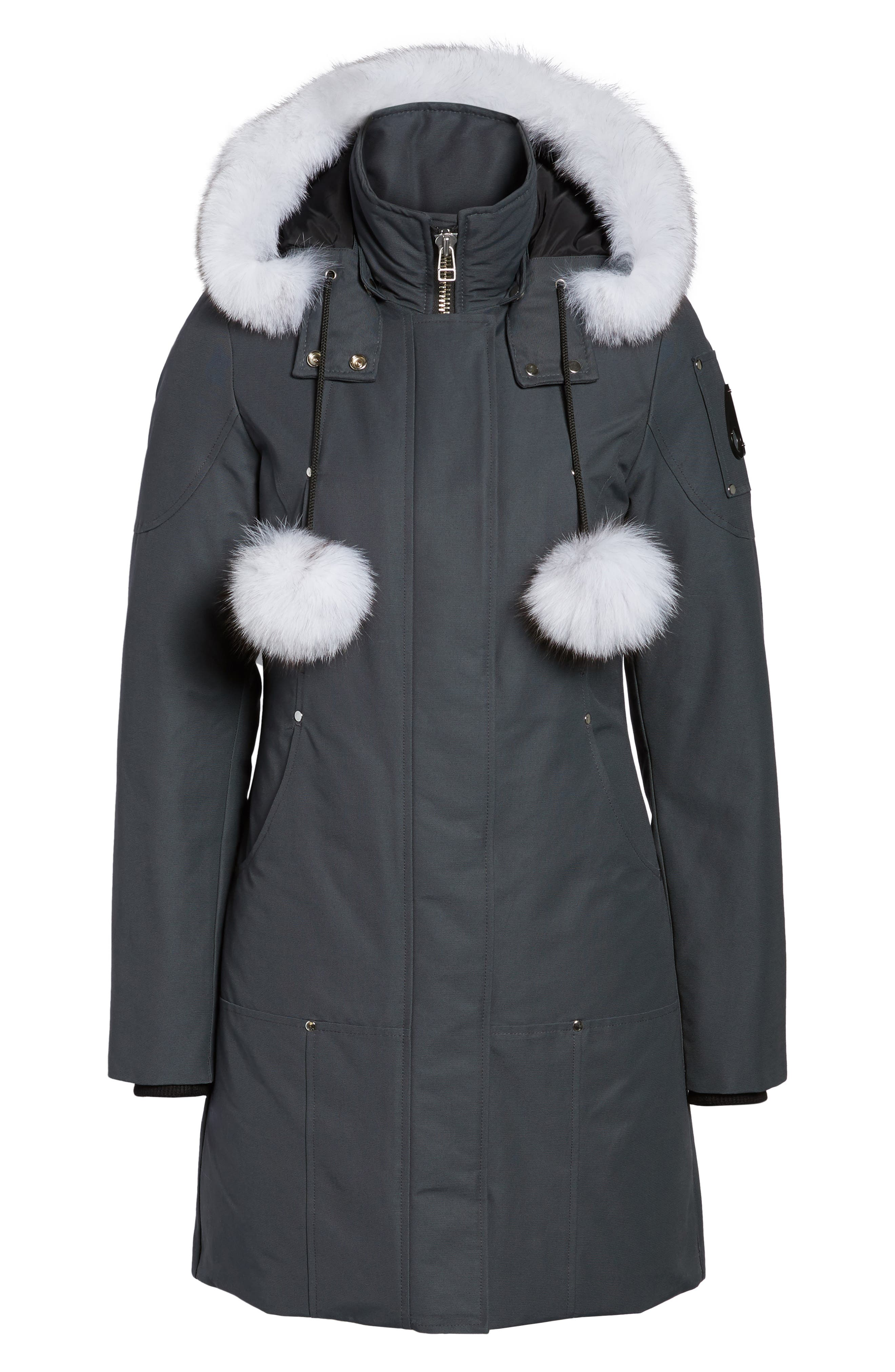 'Stirling' Down Parka with Genuine Fox Fur Trim,                             Alternate thumbnail 6, color,                             Granite/ White Fur