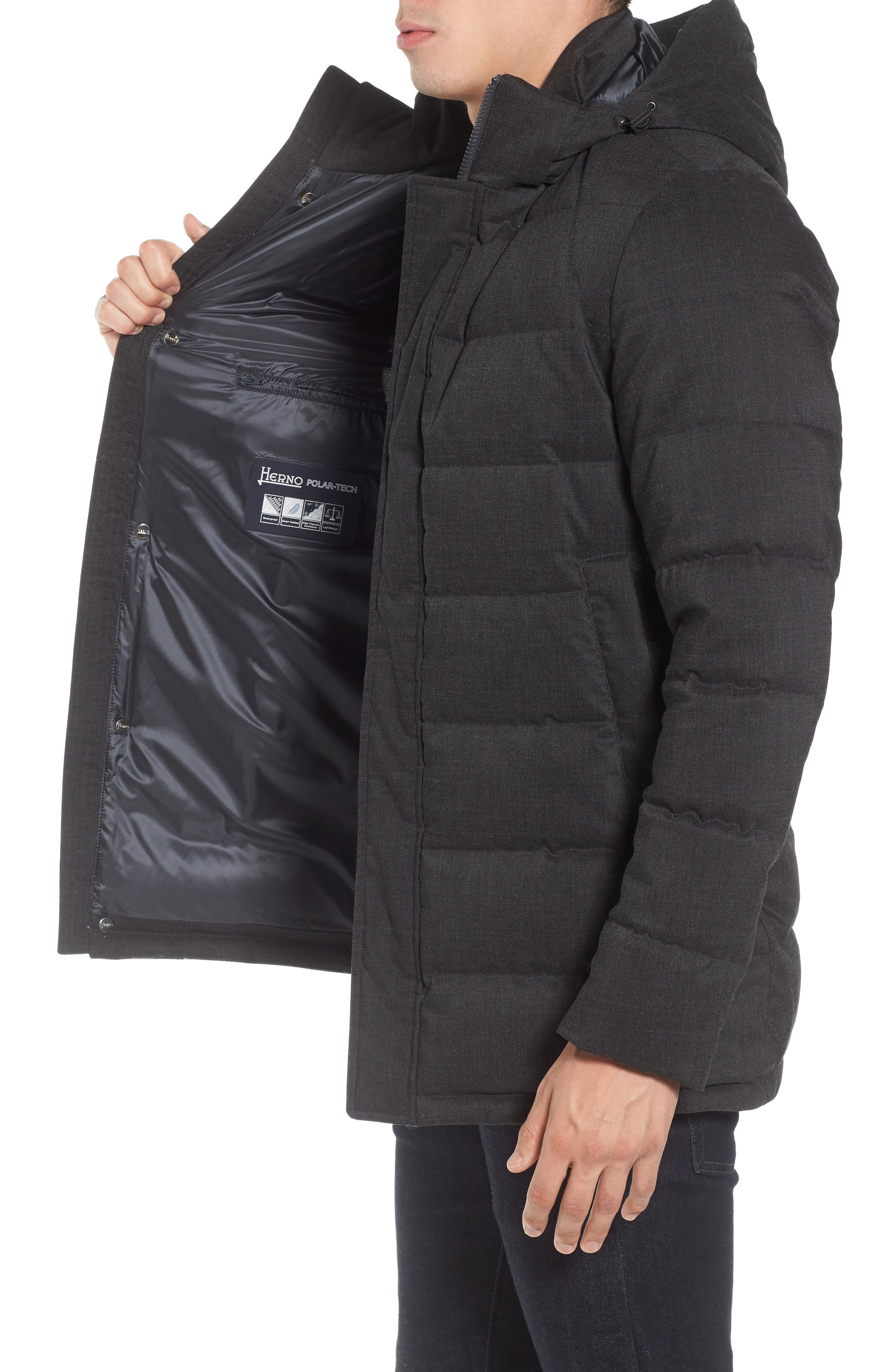 Techno Quilted Waterproof Down Jacket,                             Alternate thumbnail 3, color,                             Charcoal