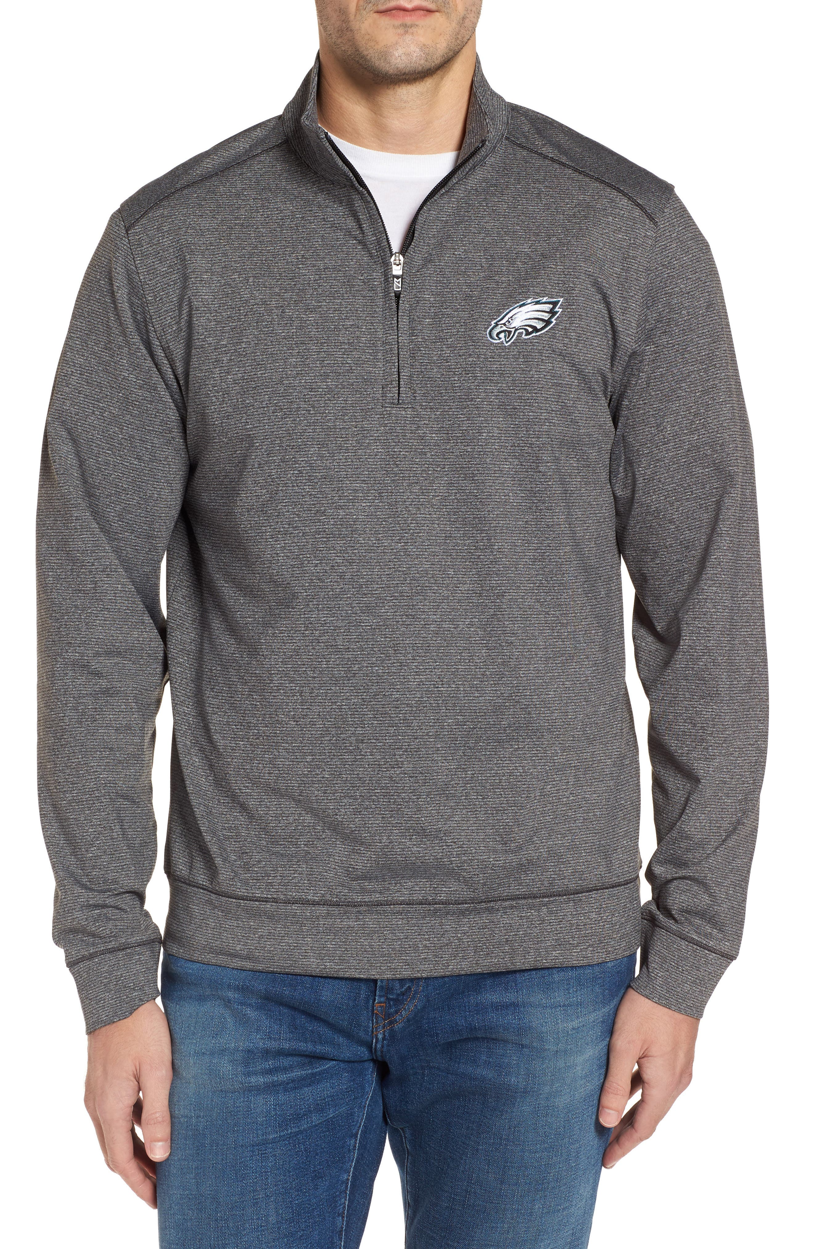 Shoreline - Philadelphia Eagles Half Zip Pullover,                             Main thumbnail 1, color,                             Charcoal Heather