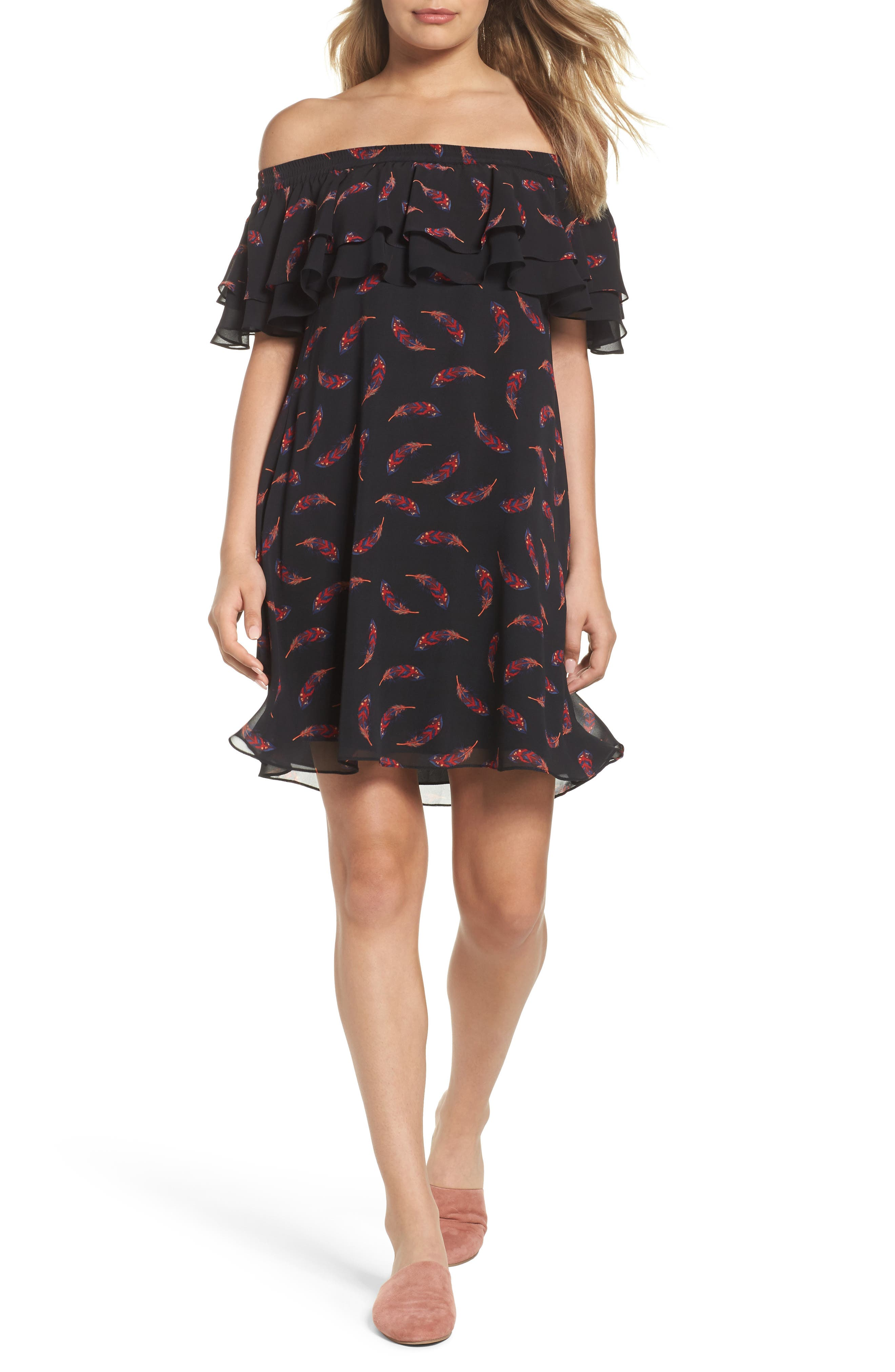 Off the Shoulder Shift Dress,                         Main,                         color, Feather