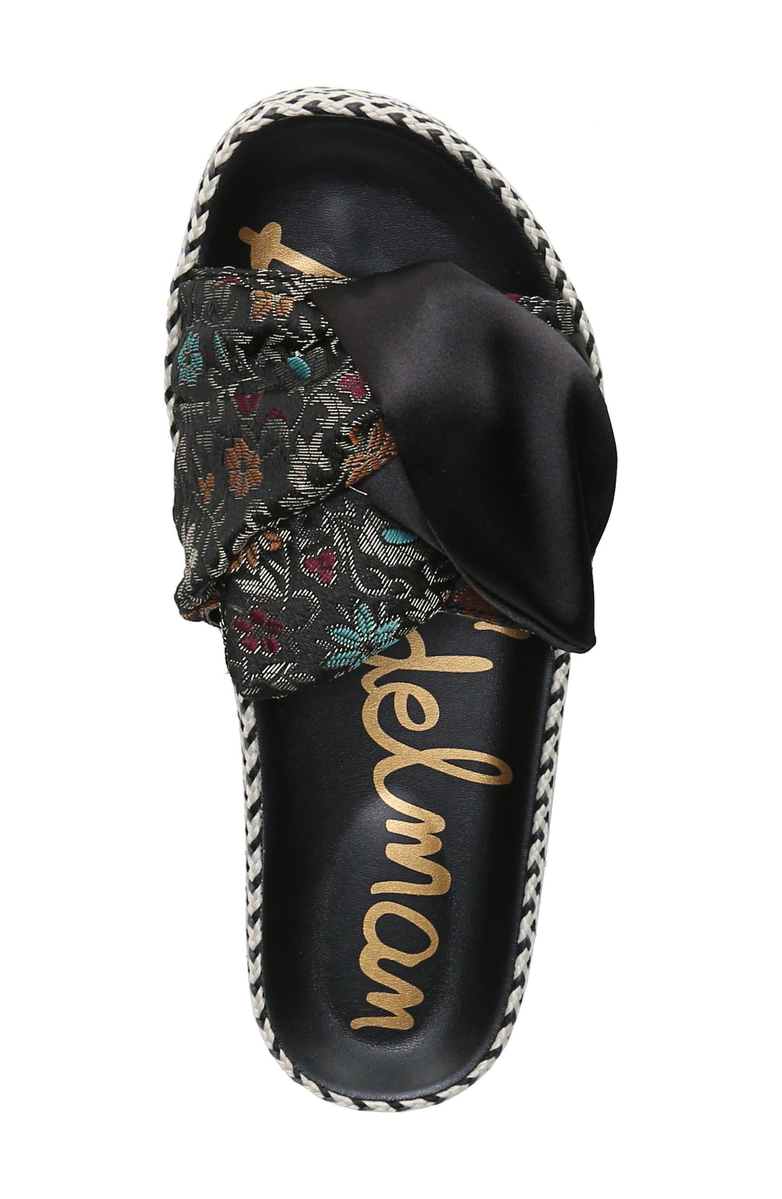 Bodie Slide Sandal,                             Alternate thumbnail 5, color,                             Black Floral Brocade