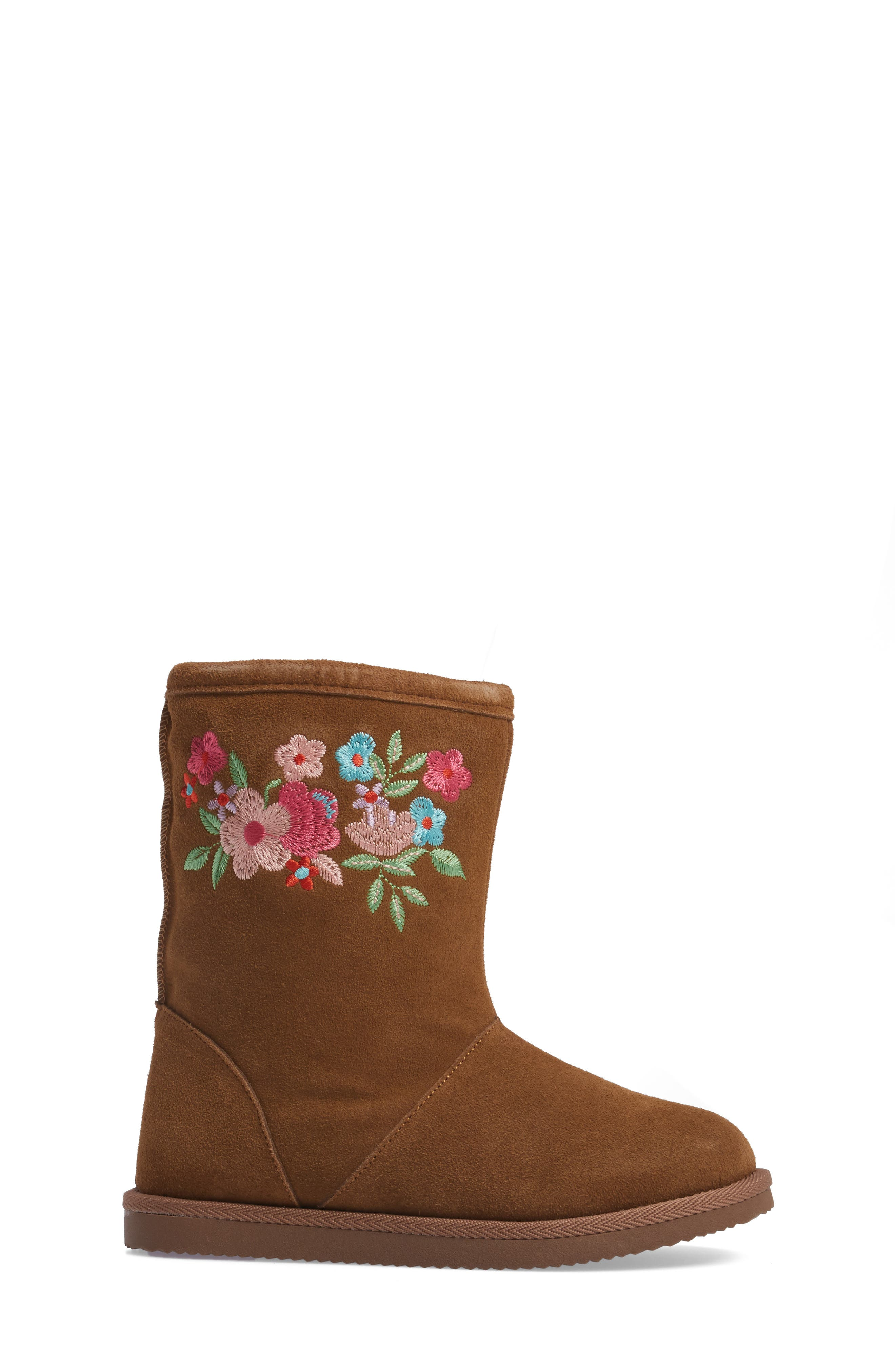 Aline Embroidered Faux Fur Boot,                             Alternate thumbnail 3, color,                             Chestnut Suede