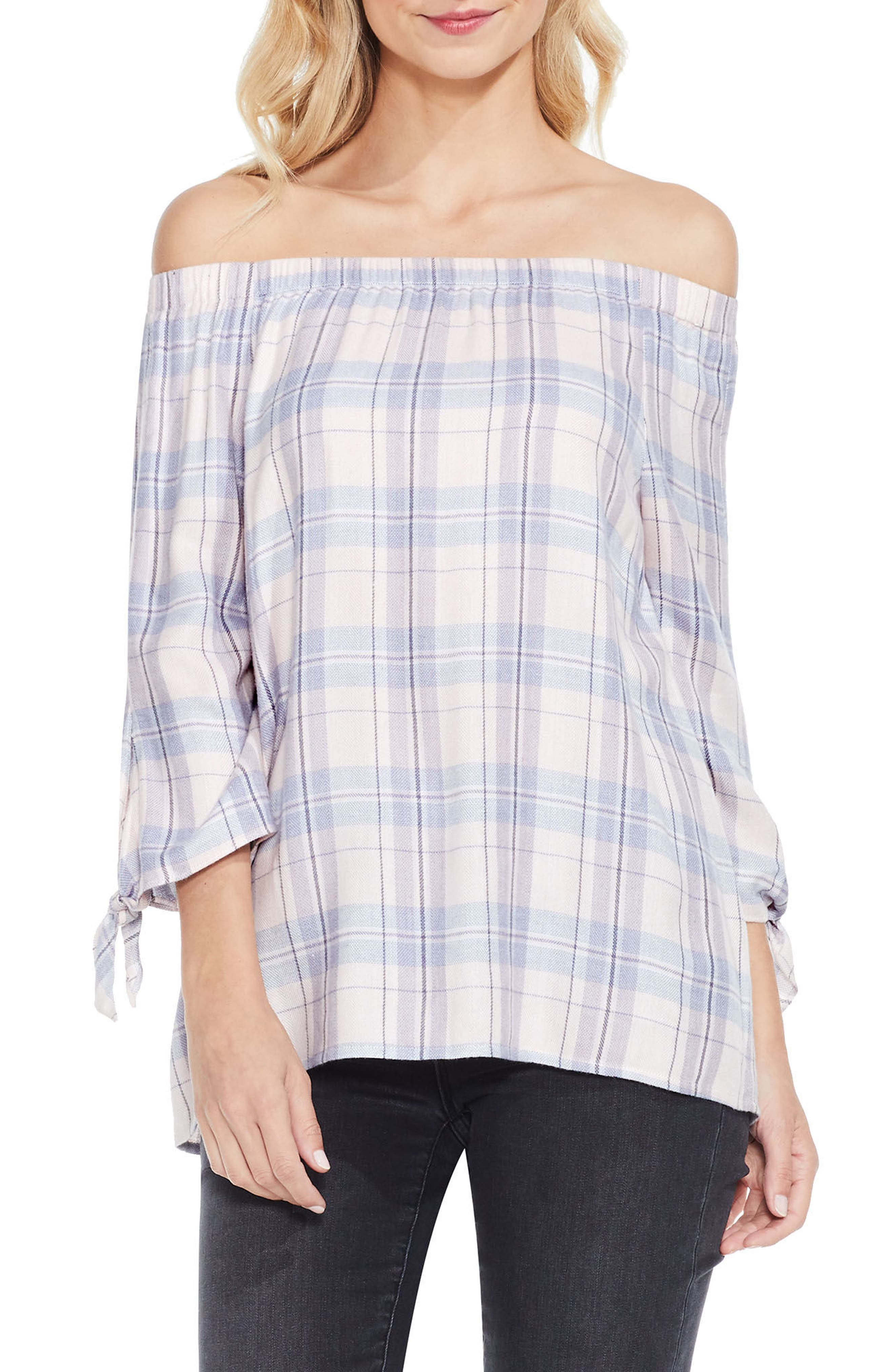 Off the Shoulder Plaid Top,                             Main thumbnail 1, color,                             New Ivory