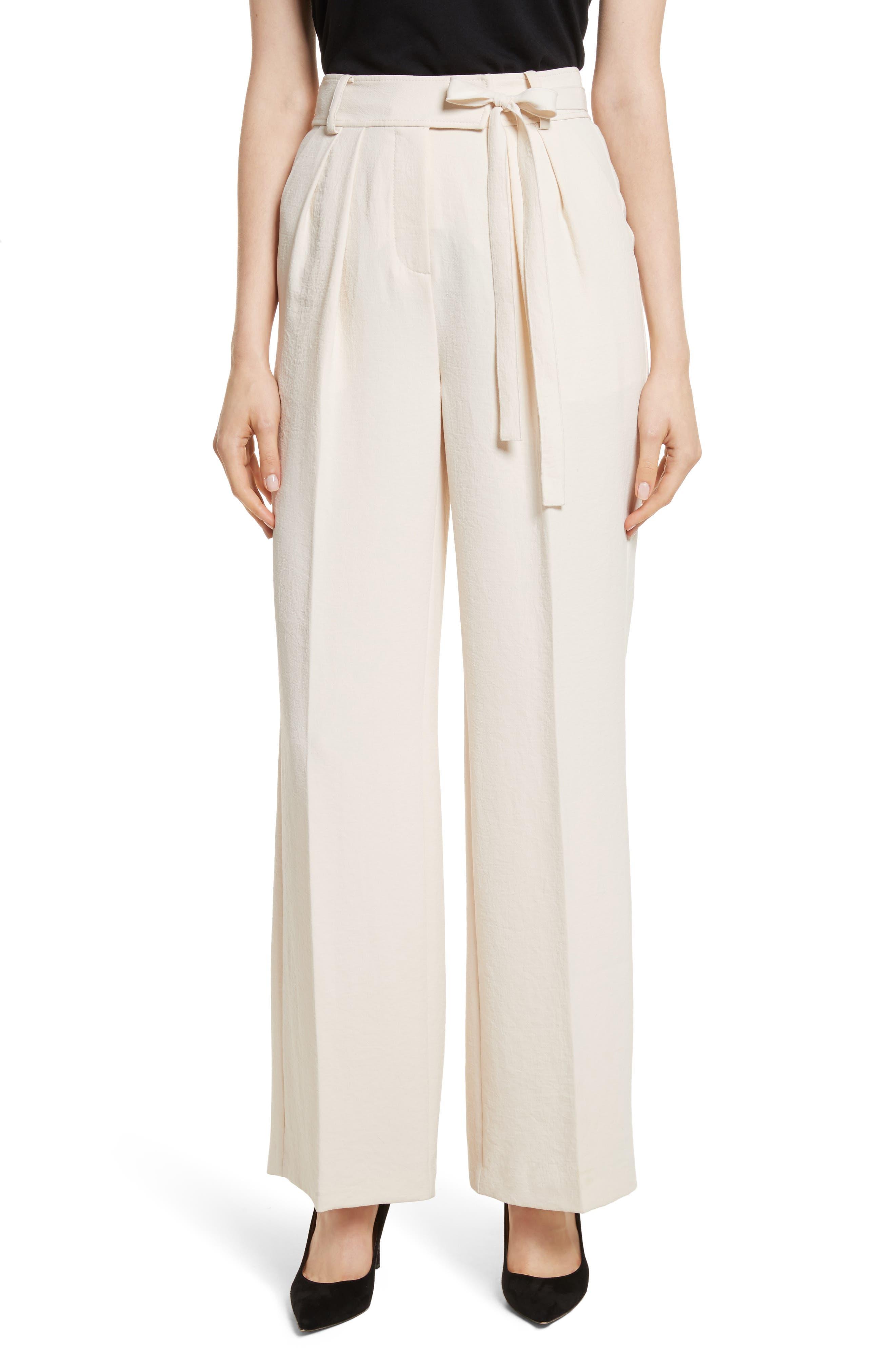 Crepe Tie Waist Pants,                         Main,                         color, Cream