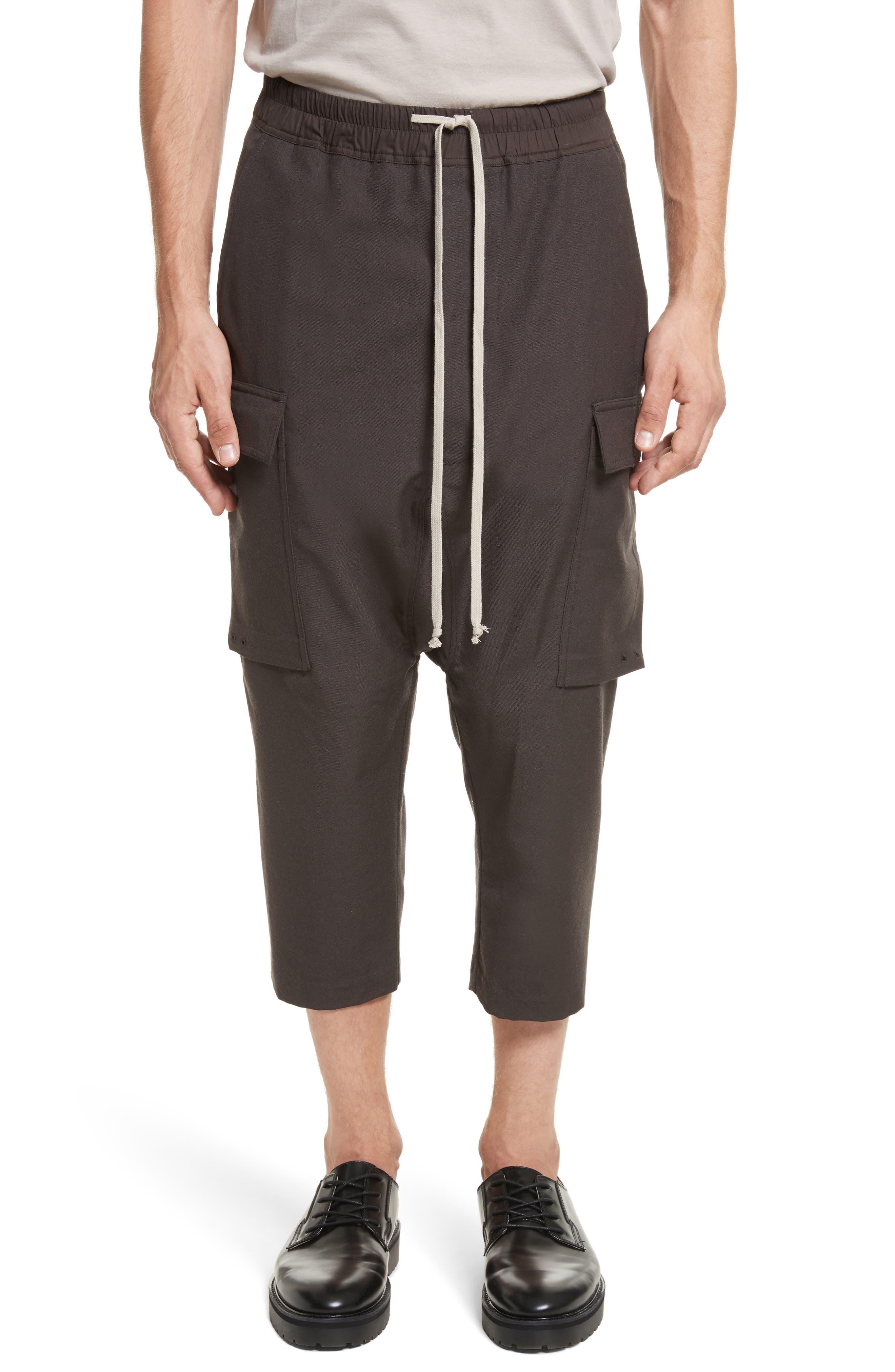 Cropped Drawstring Cargo Pants,                             Main thumbnail 1, color,                             Brown