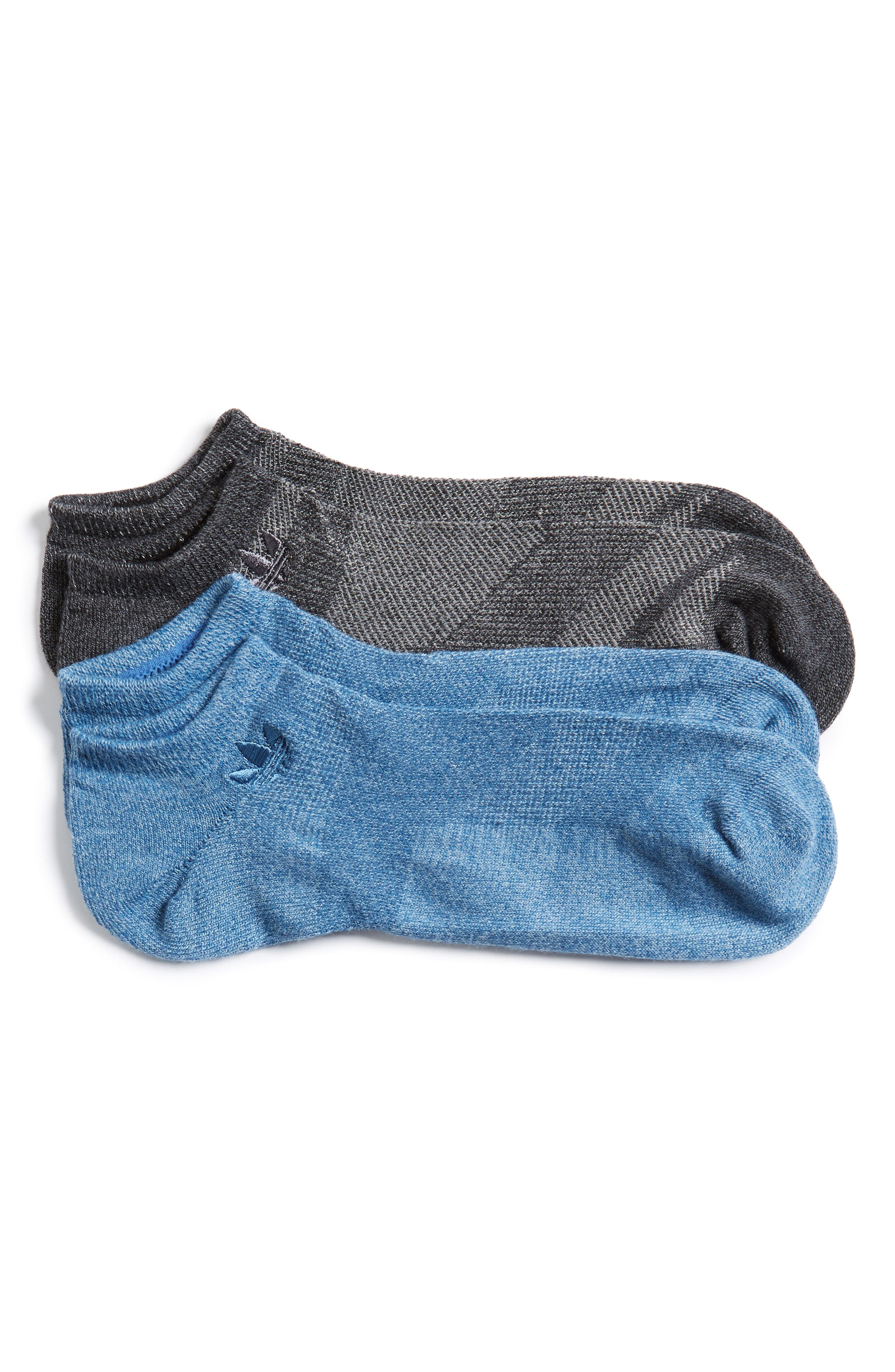 Prime Mesh 2-Pack No-Show Socks,                             Main thumbnail 1, color,                             Tactile Blue/ Black/ Onyx Marl