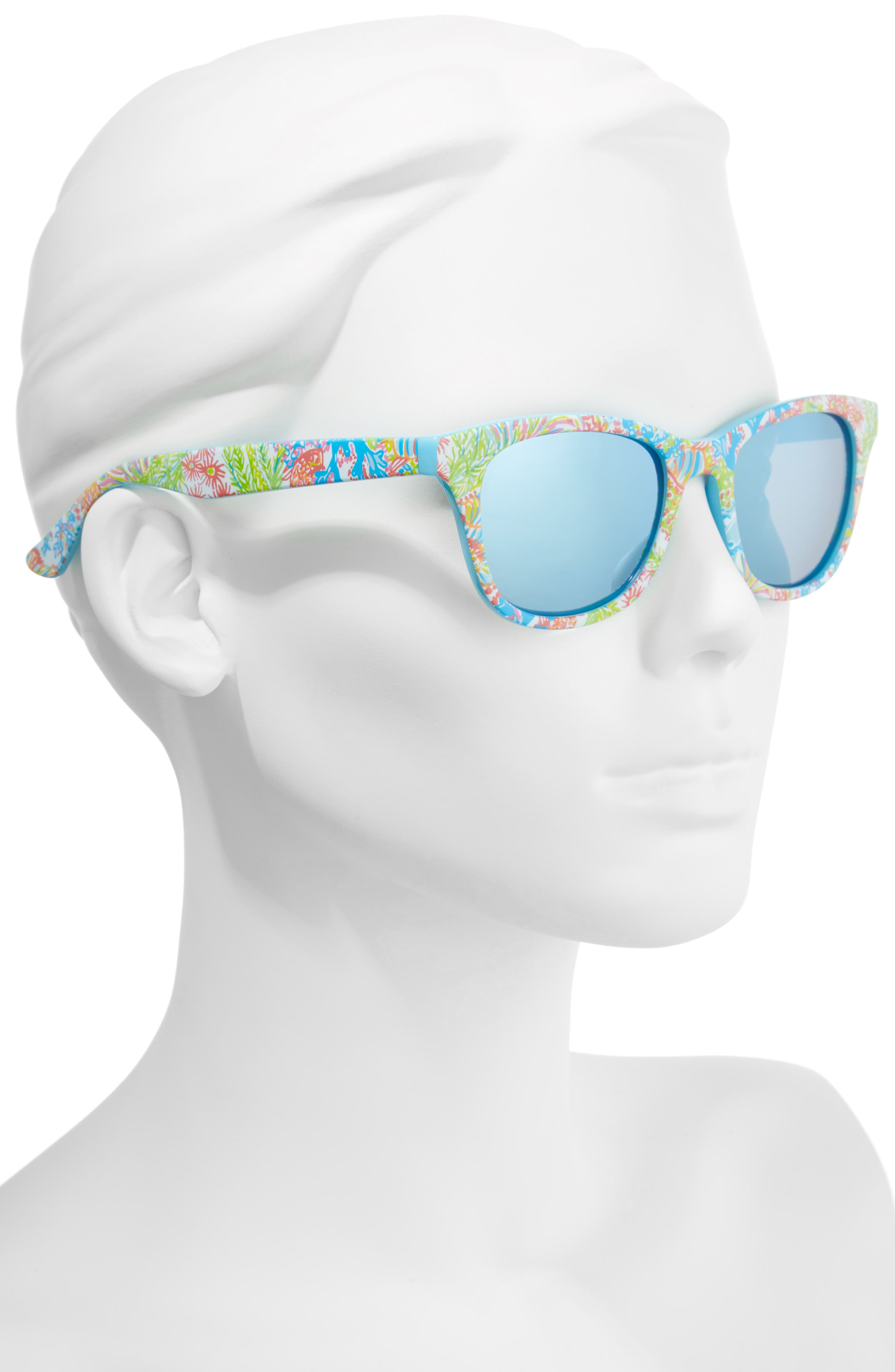 Maddie 52mm Polarized Mirrored Sunglasses,                             Alternate thumbnail 2, color,                             Blue