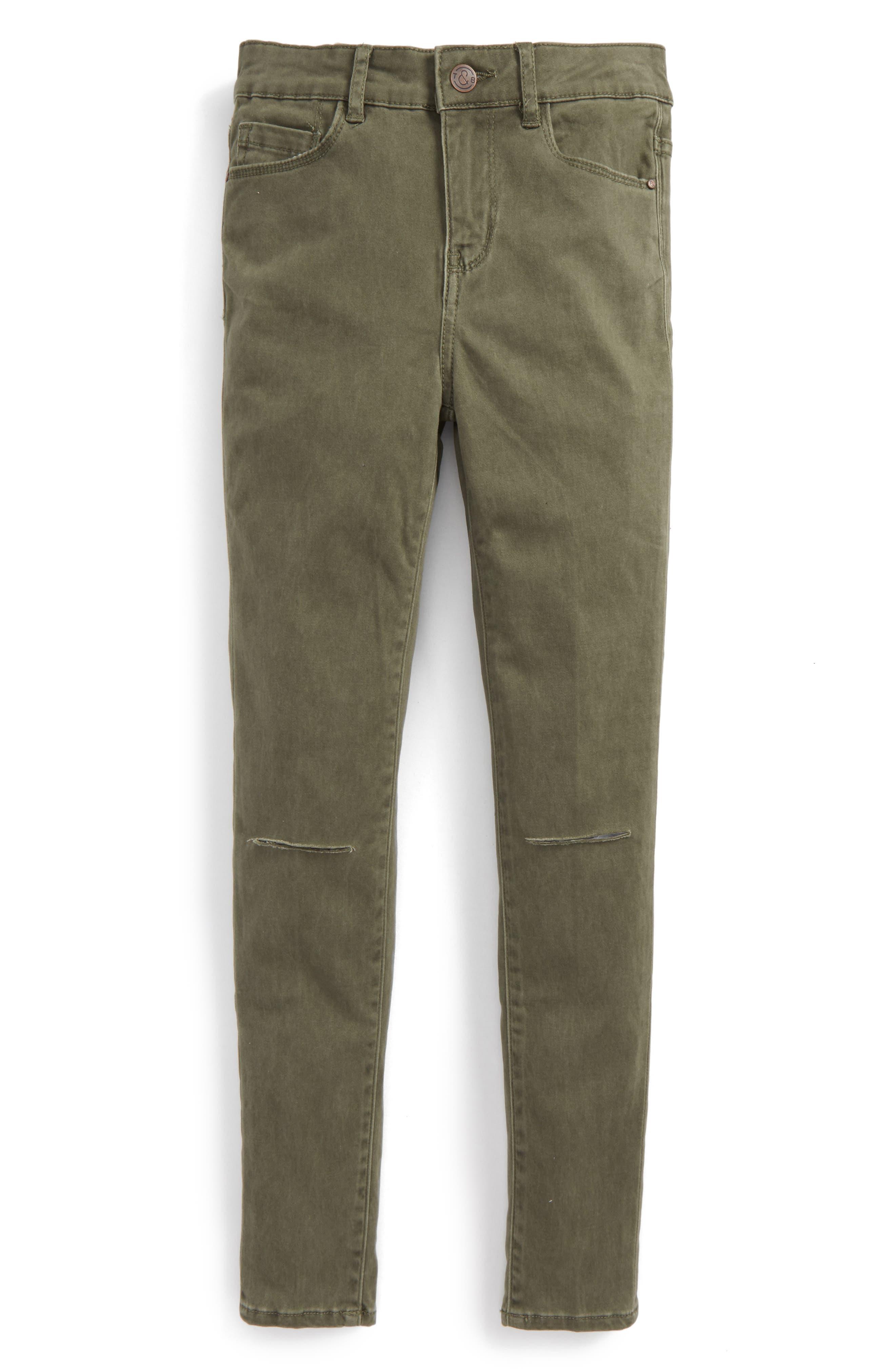 Main Image - Treasure & Bond Pigment Wash Skinny Jeans (Big Girls)