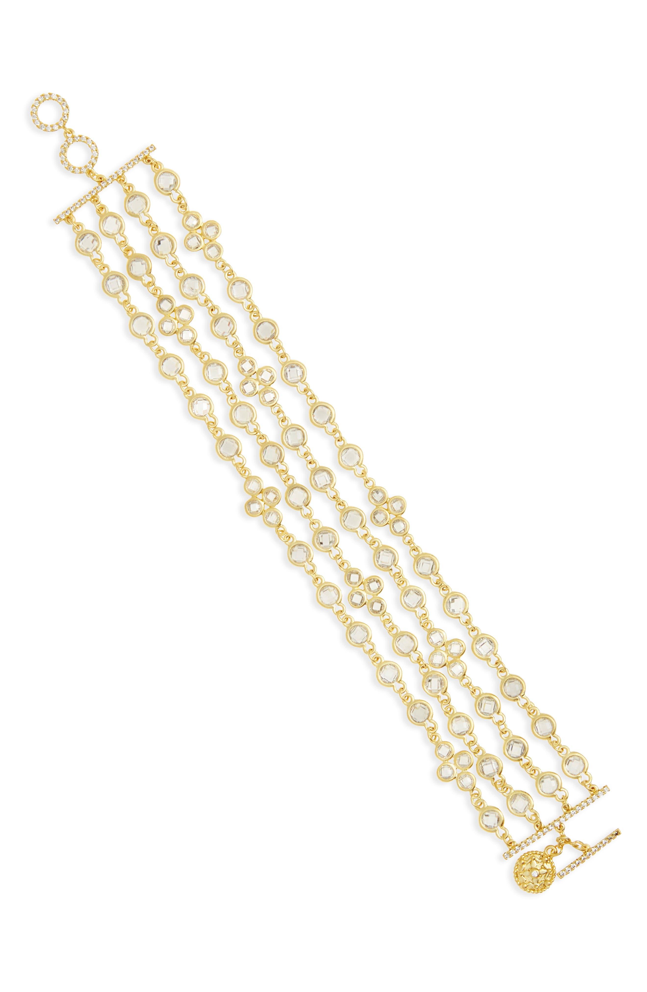 Audrey Radiance Four-Chain Bracelet,                         Main,                         color, Gold/ Clear