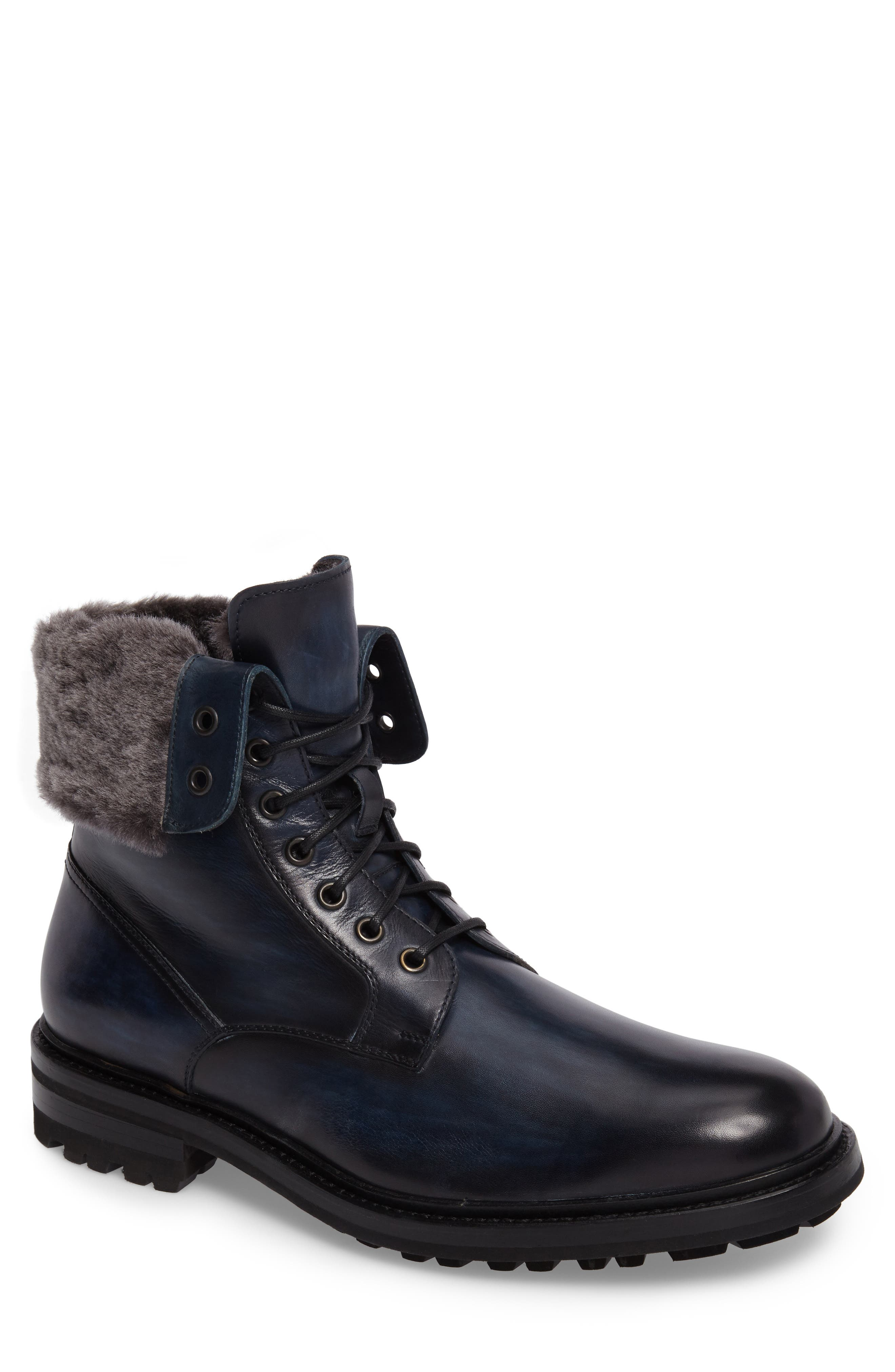 Paxton Plain Toe Boot with Genuine Rabbit Fur Cuff,                             Main thumbnail 1, color,                             Navy Leather