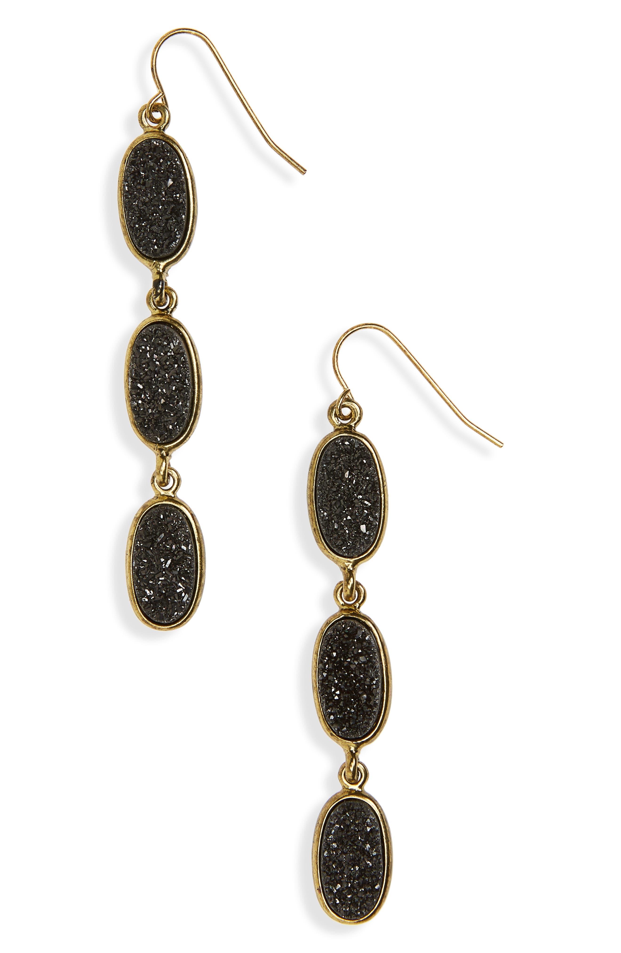 Drusy Drop Earrings,                             Main thumbnail 1, color,                             Black- Gold