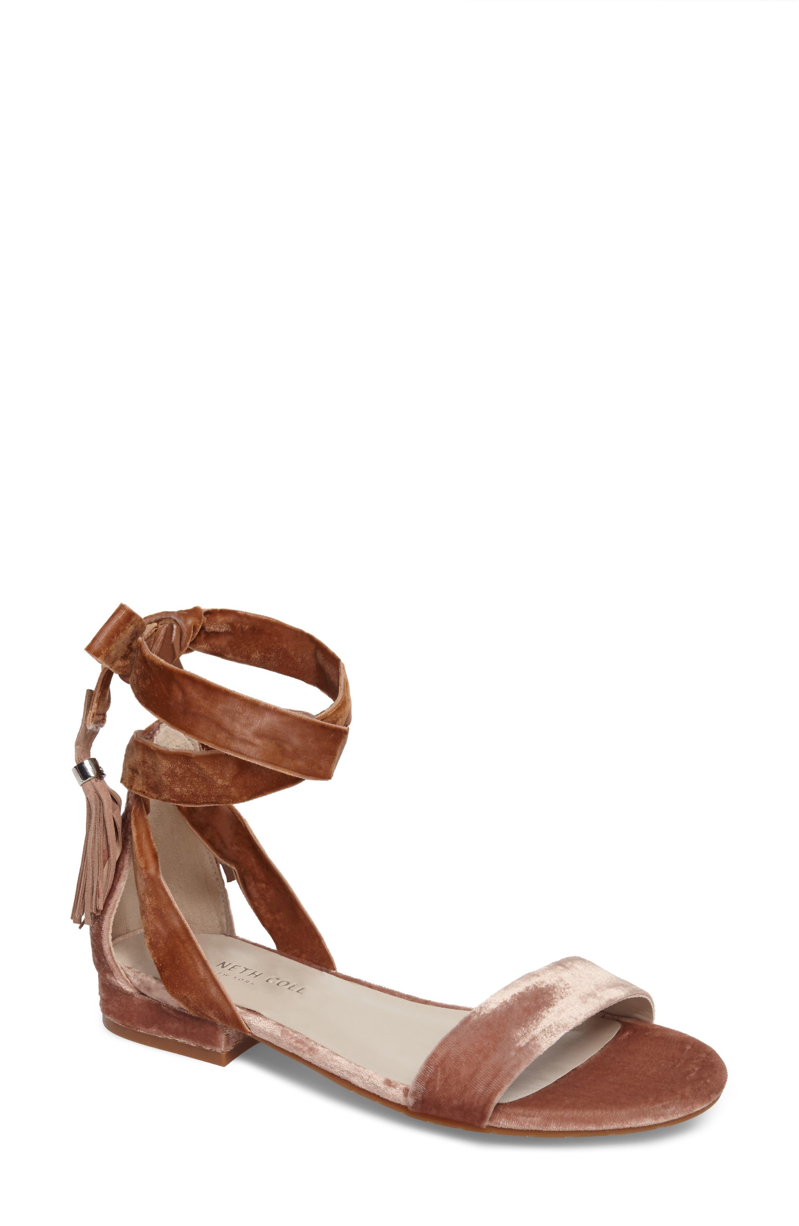 Valen Tassel Lace-Up Sandal,                         Main,                         color, Blush Velvet