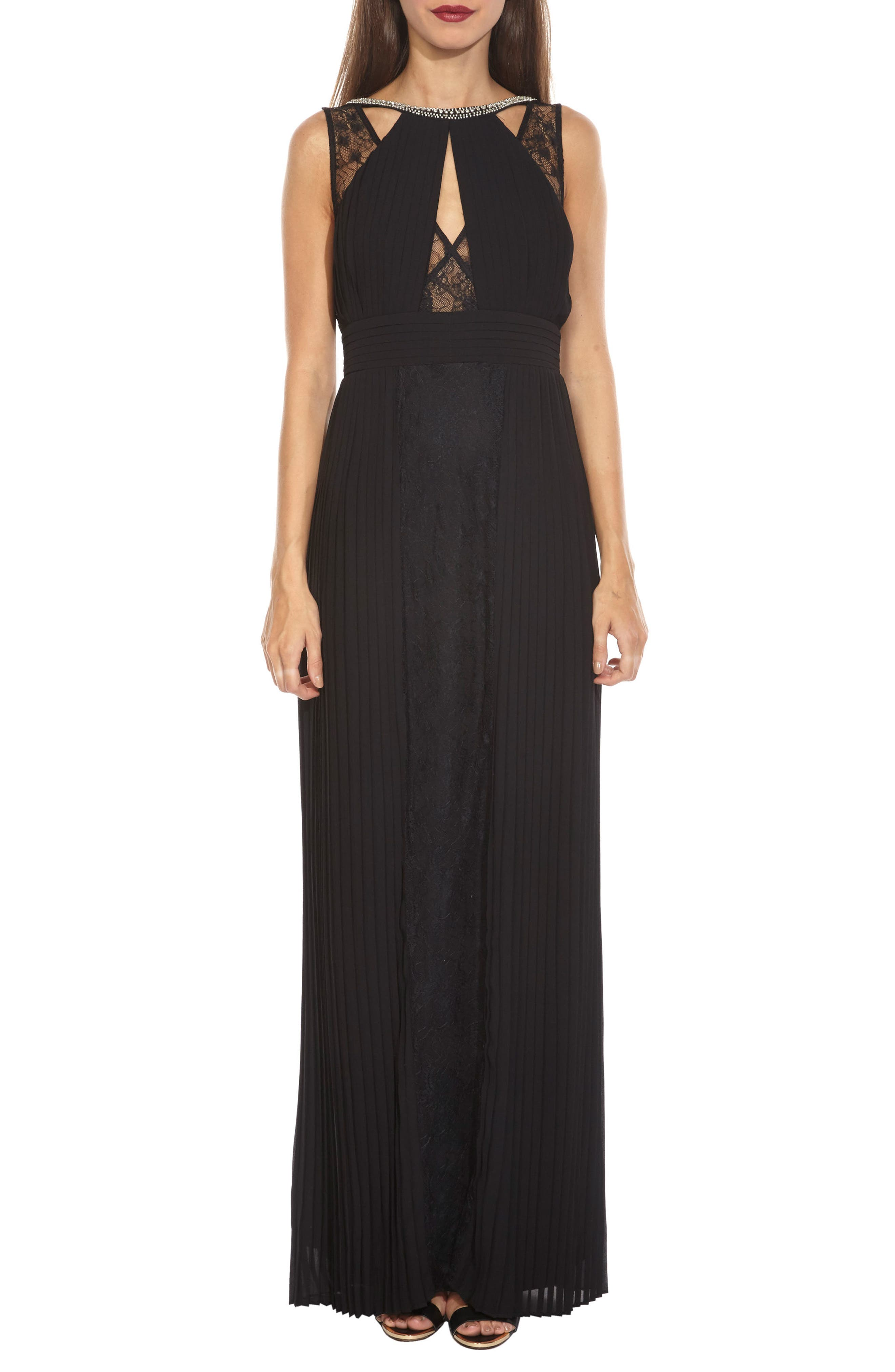 Naly Embellished Lace Trim Maxi Dress,                         Main,                         color, Black