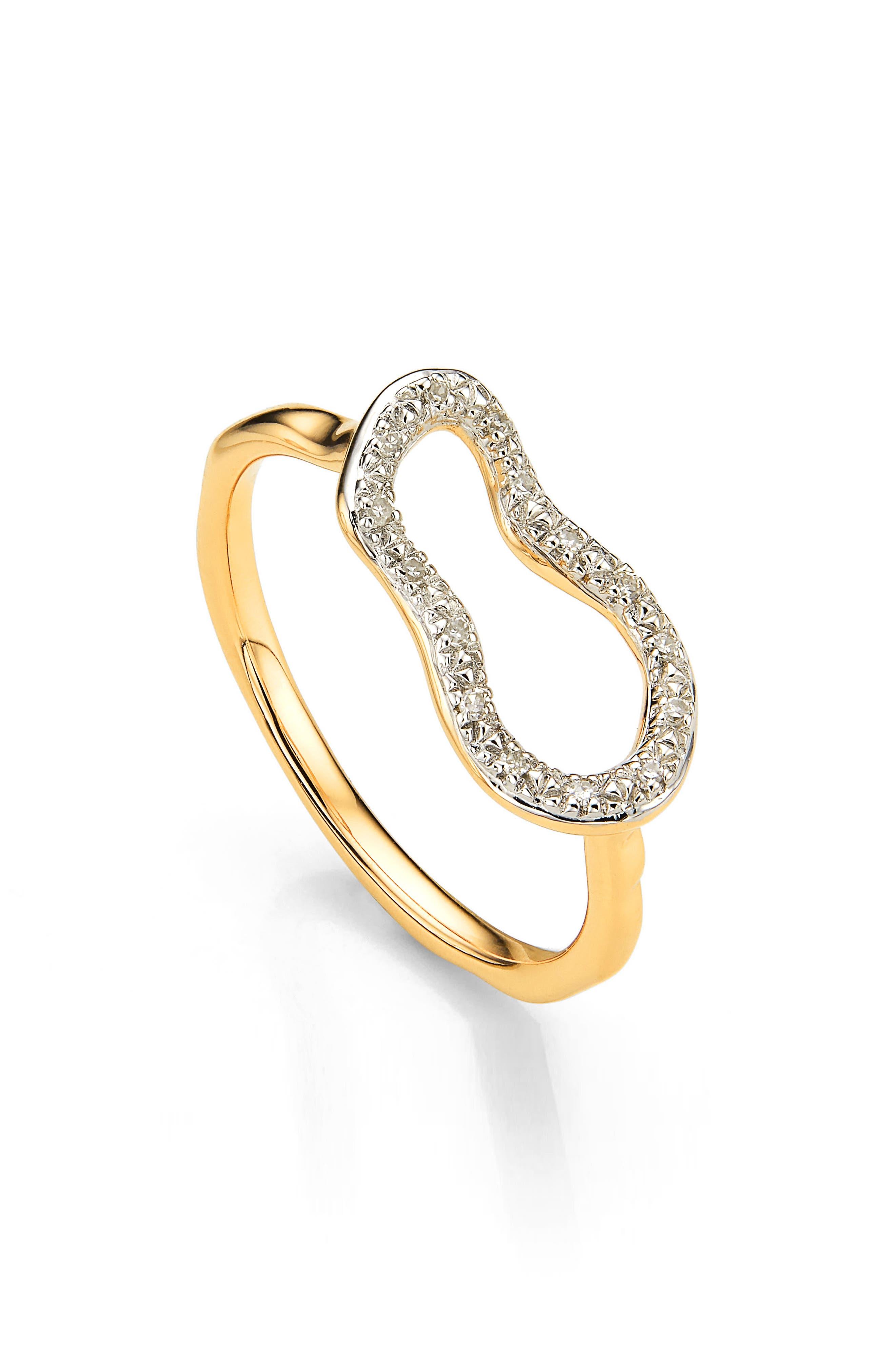 Riva Mini Pod Vermeil Diamond Ring,                         Main,                         color, Gold