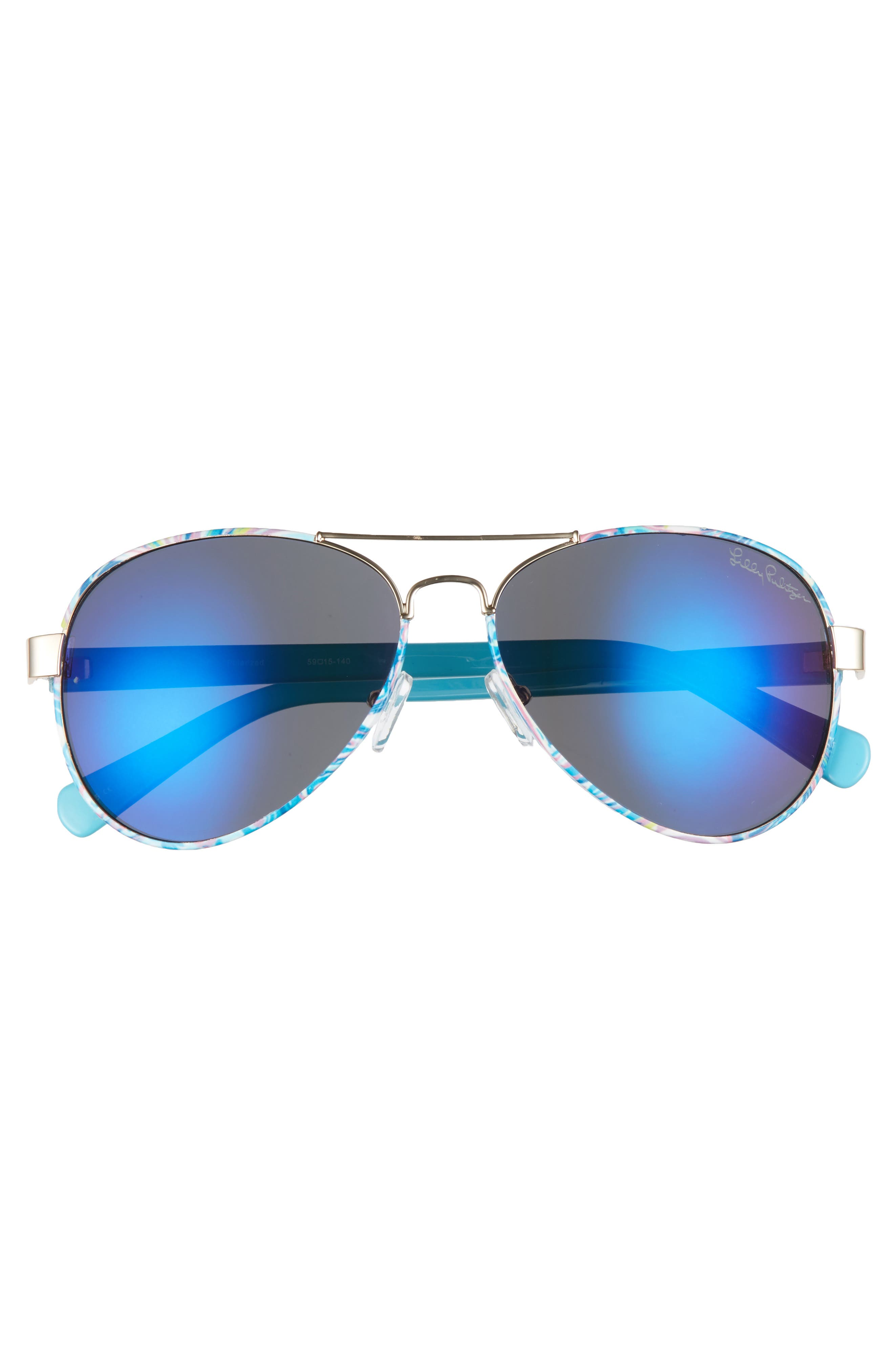 Ainsley 59mm Polarized Aviator Sunglasses,                             Alternate thumbnail 3, color,                             Gold/ Guilty Pleasure
