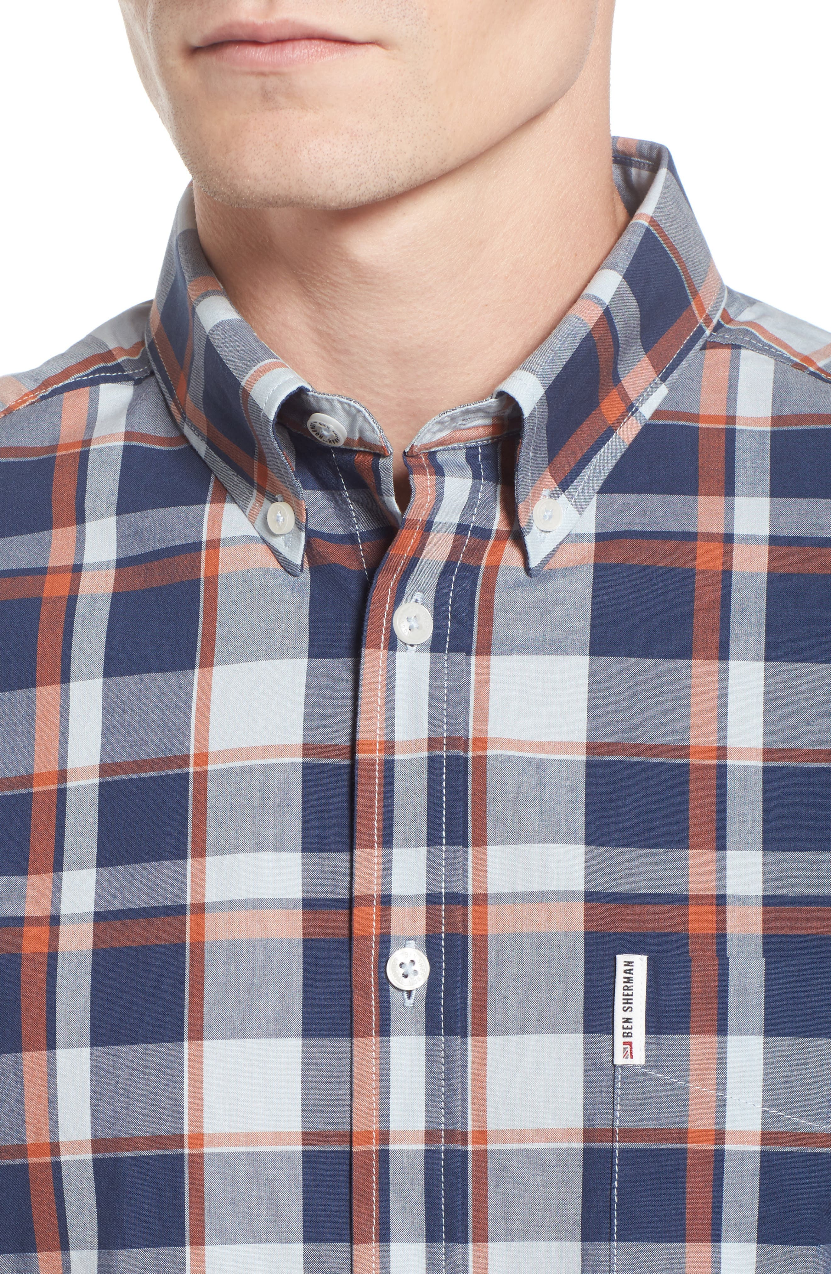 Plaid Poplin Sport Shirt,                             Alternate thumbnail 4, color,                             Light Blue