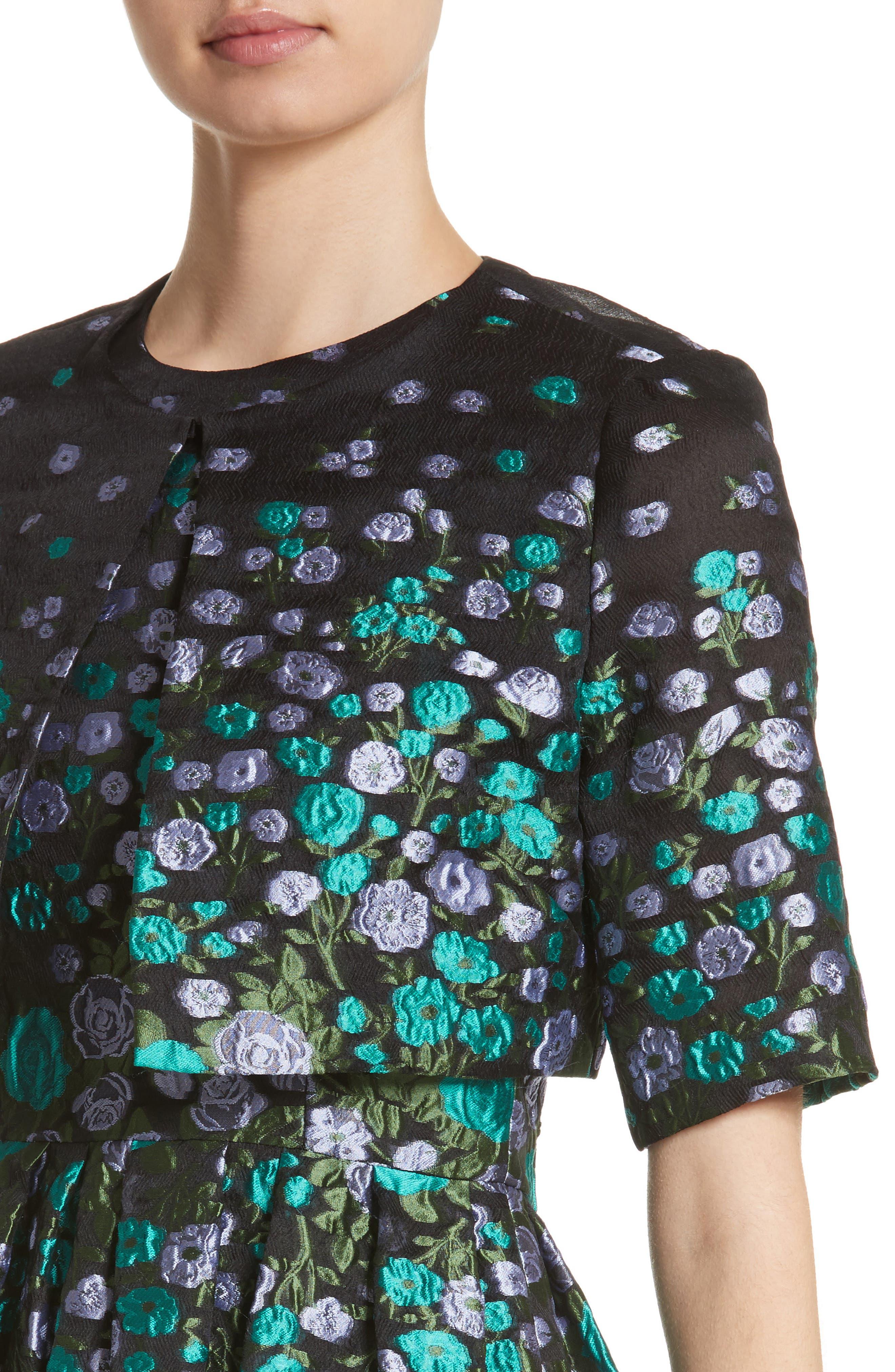 Alternate Image 4  - Lela Rose Floral Matelassé Crop Jacket