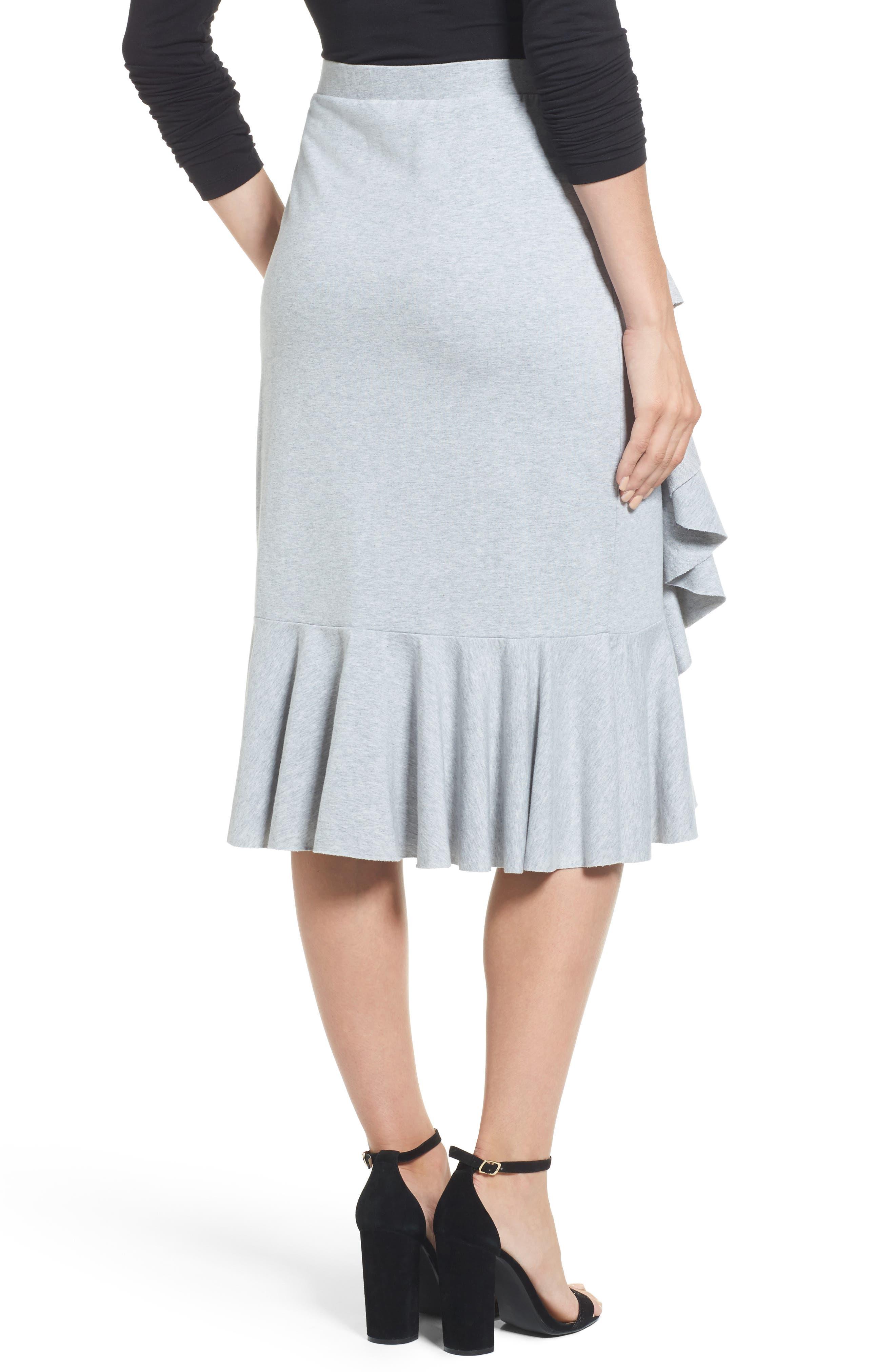 Ruffled Knit Skirt,                             Alternate thumbnail 2, color,                             Heather Grey