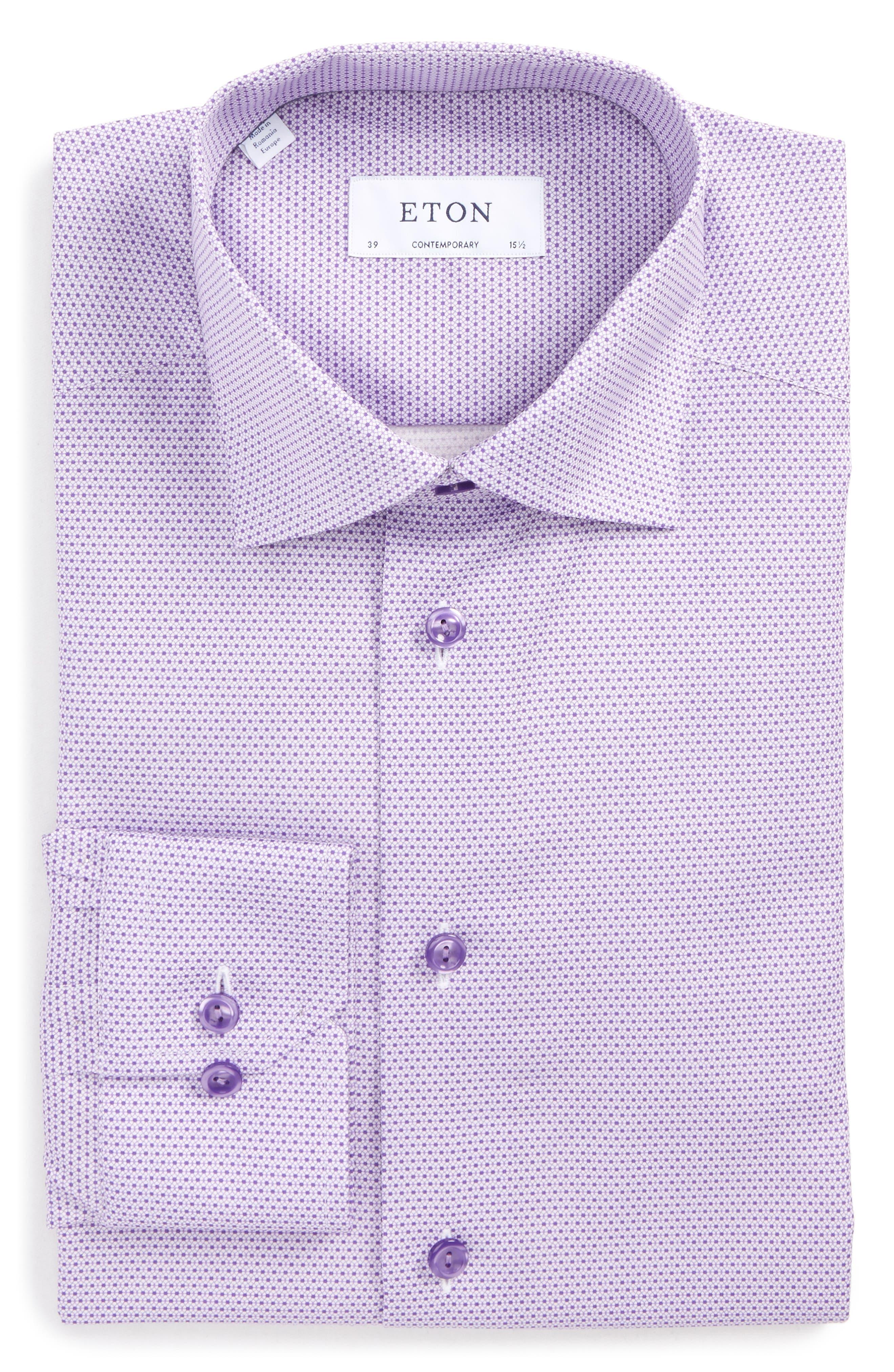 Contemporary Fit Micro Floral Print Dress Shirt,                         Main,                         color, Purple