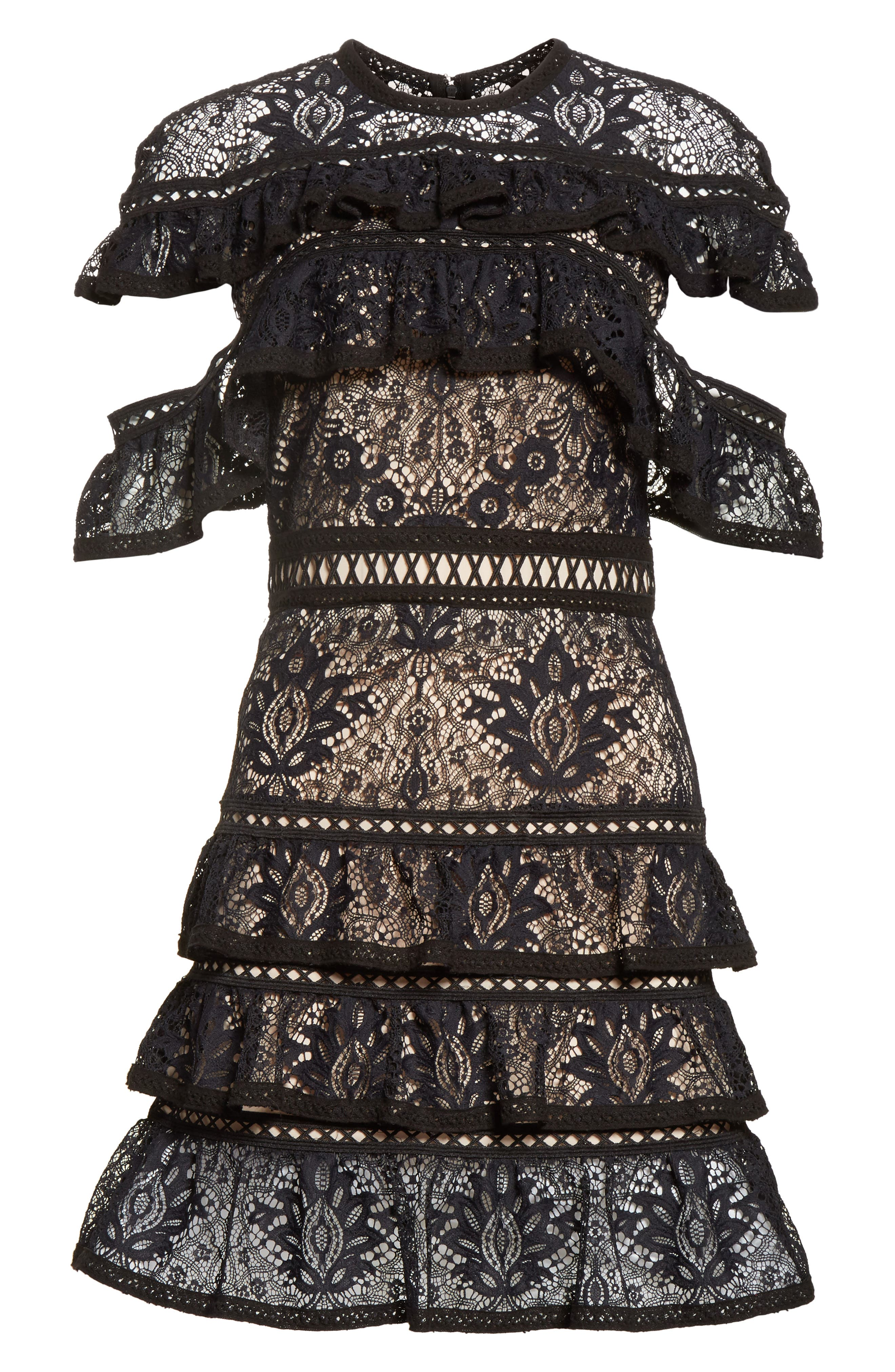 Alternate Image 7  - Alice + Olivia Jolie Tiered Ruffle Lace Dress