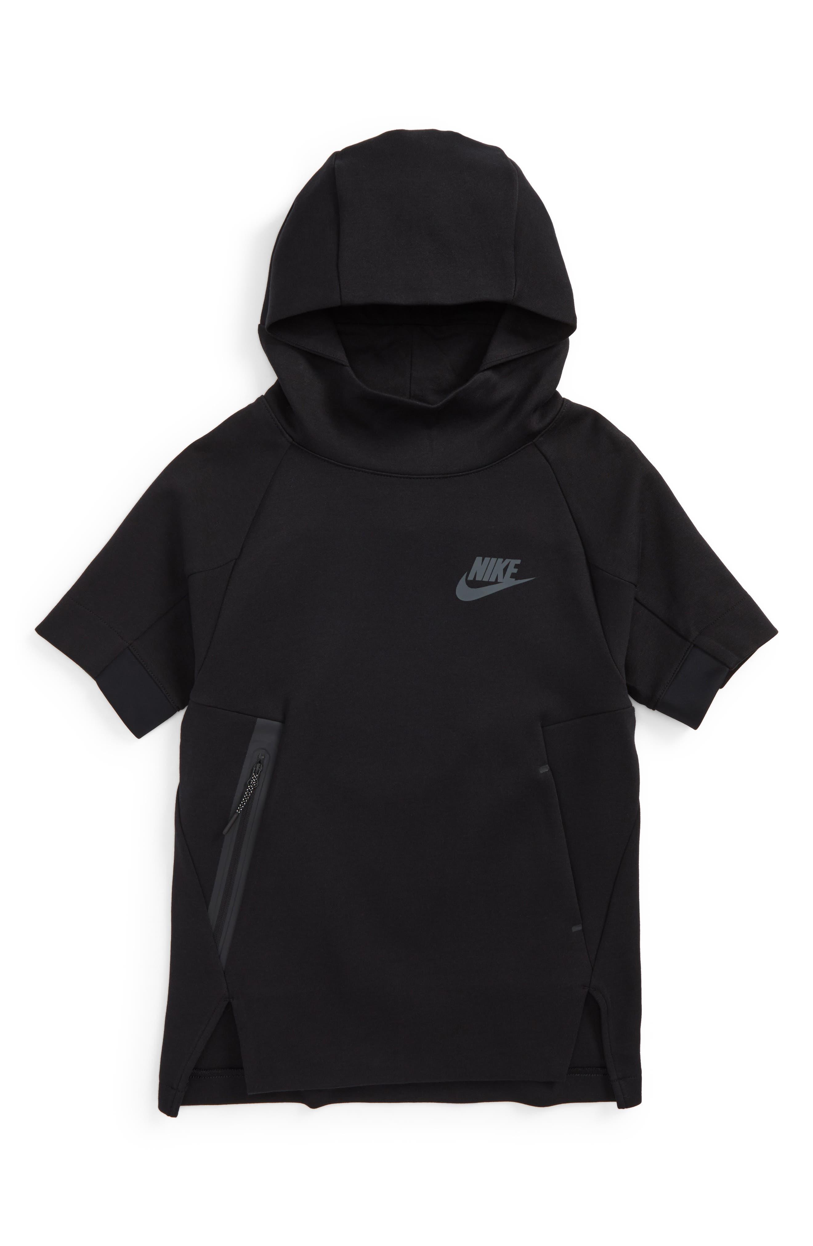Sportswear Tech Fleece Short Sleeve Hoodie,                         Main,                         color, Black/ Anthra