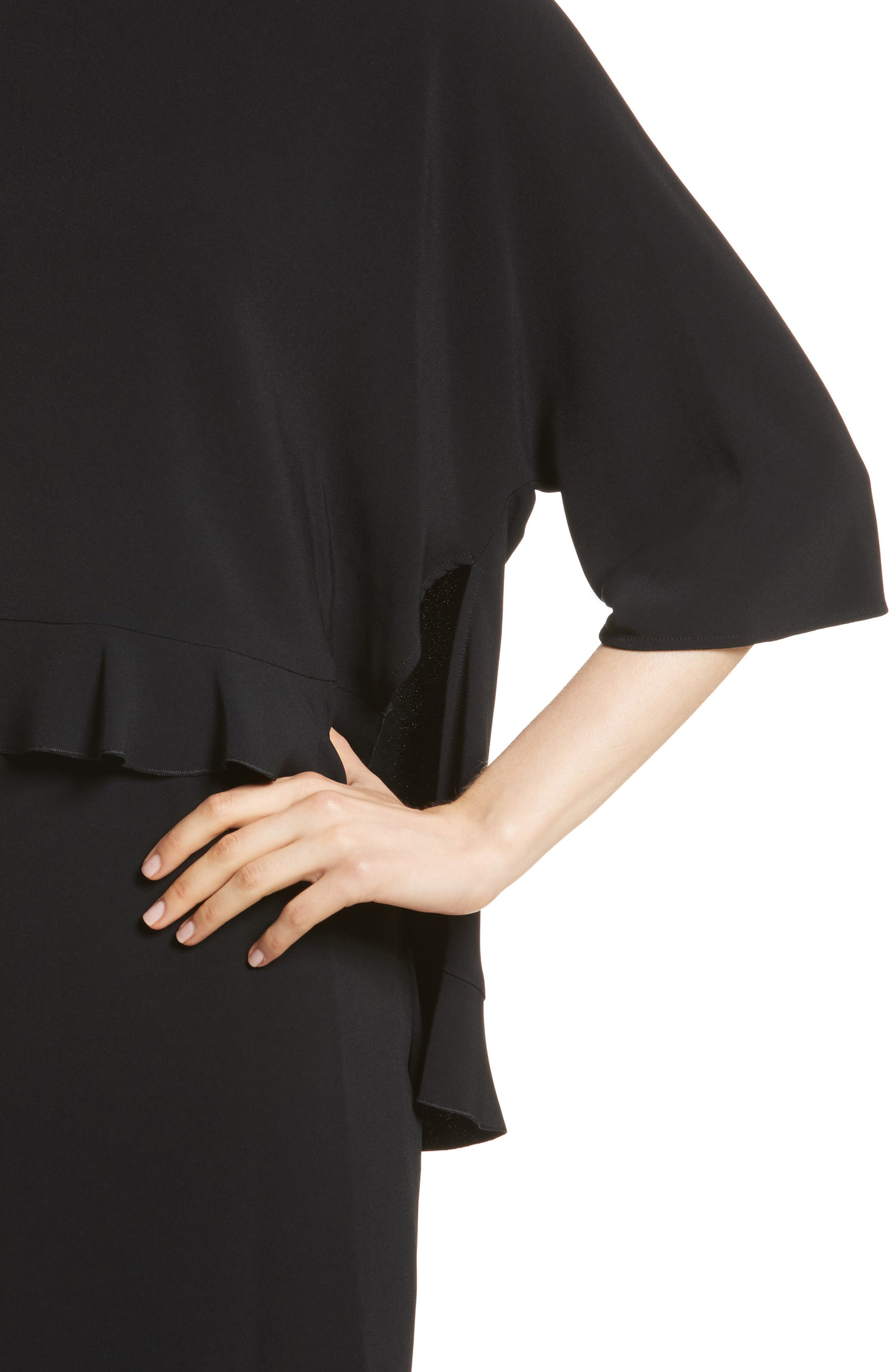 Ruffle Overlay Stretch Cady Dress,                             Alternate thumbnail 4, color,                             Black