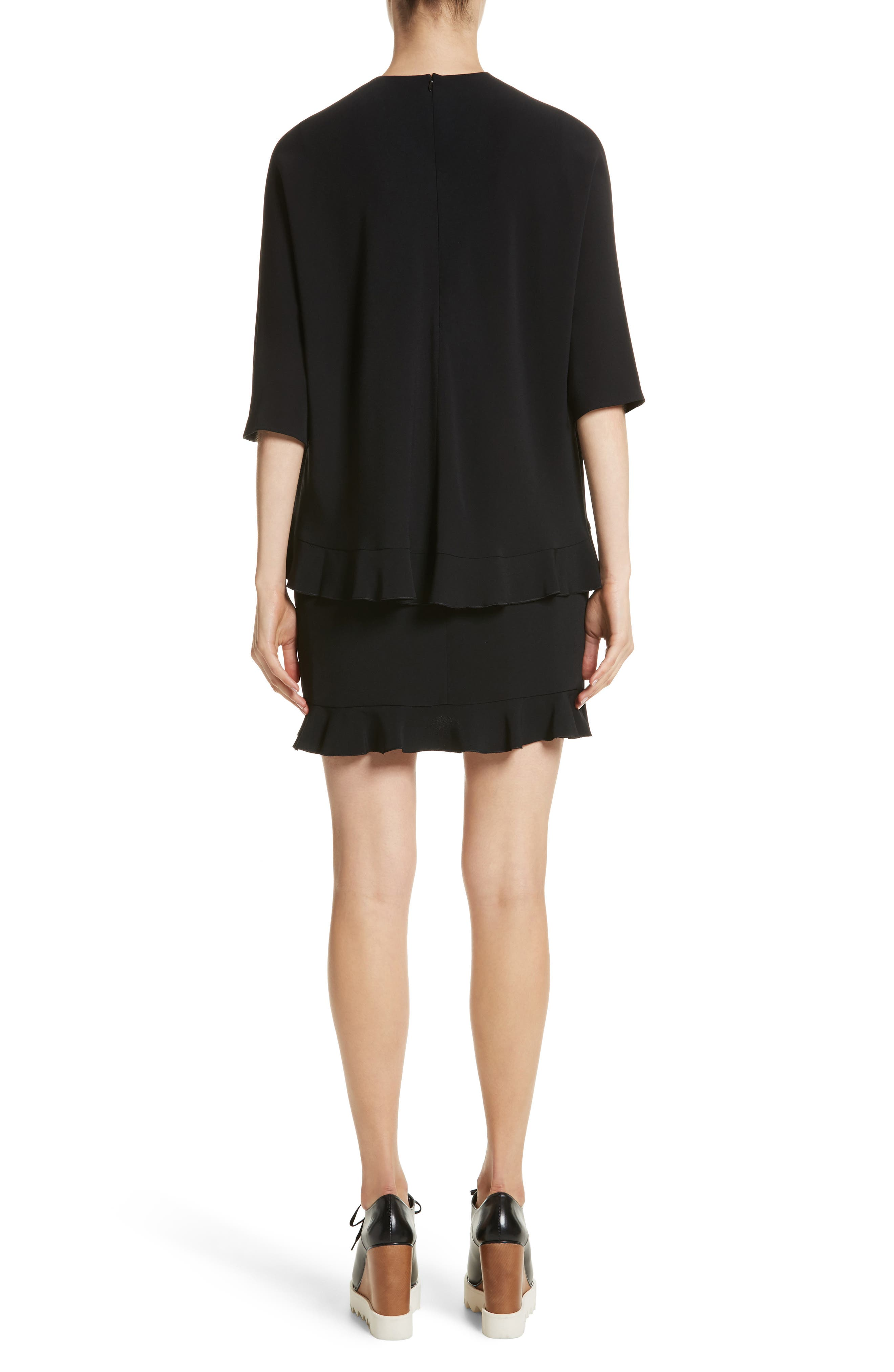 Ruffle Overlay Stretch Cady Dress,                             Alternate thumbnail 2, color,                             Black