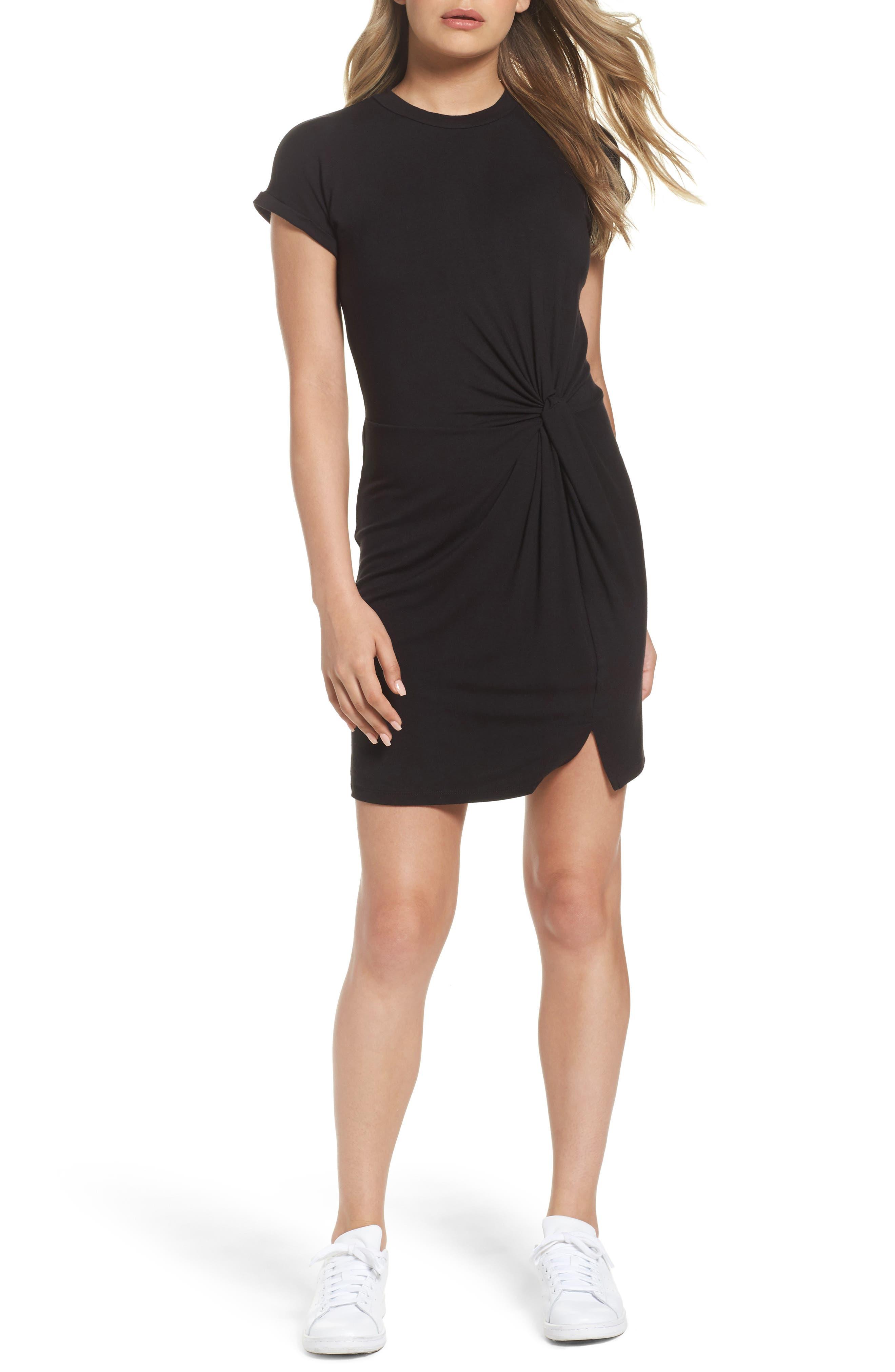 Knot Front T-Shirt Dress,                         Main,                         color, Black