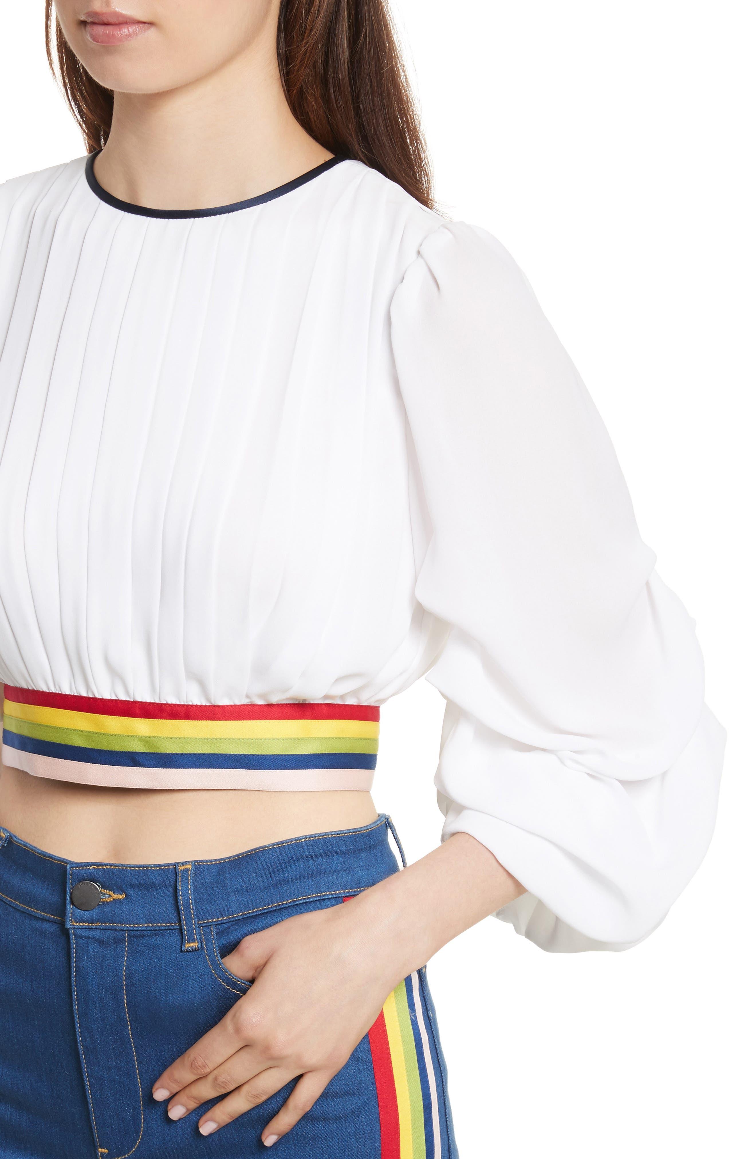 Dakota Tack Sleeve Top,                             Alternate thumbnail 4, color,                             White/ Multi