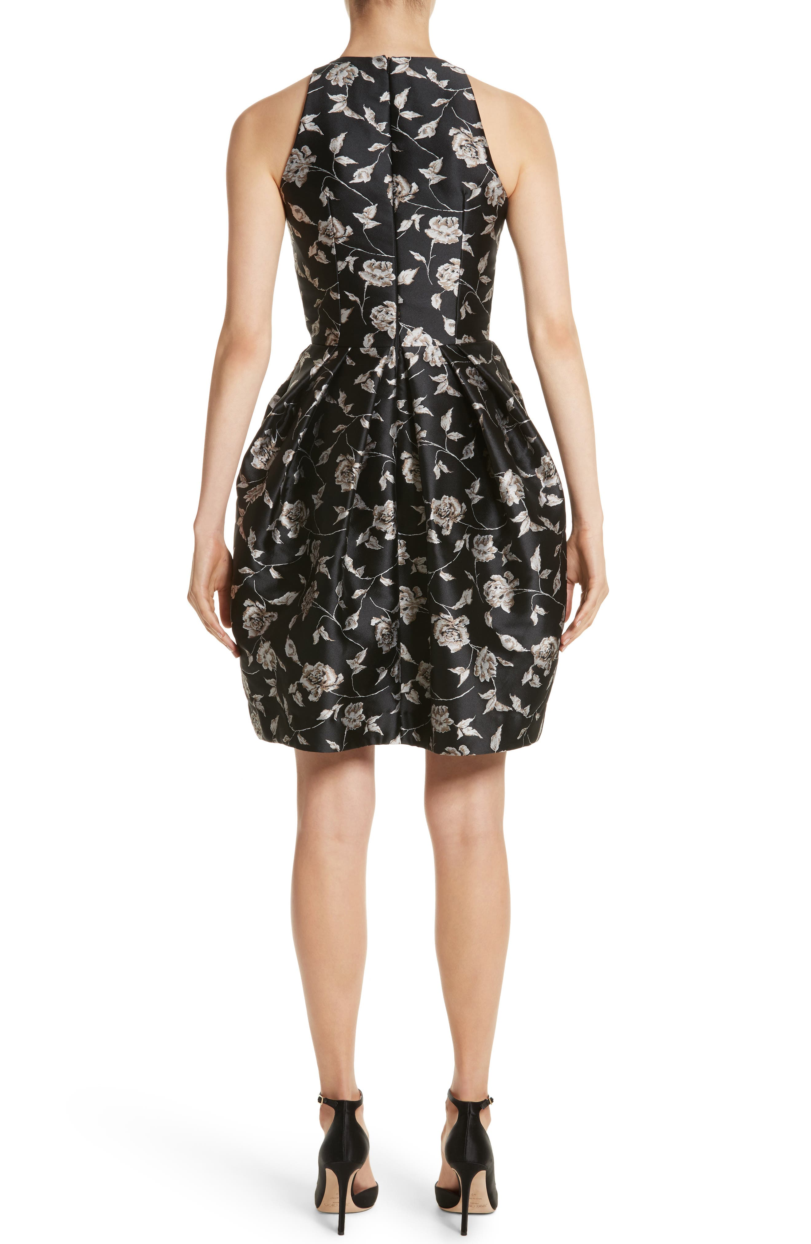Carmen Marc Valvo Embellished Appliqué Floral Jacquard Cocktail Dress,                             Alternate thumbnail 2, color,                             Black