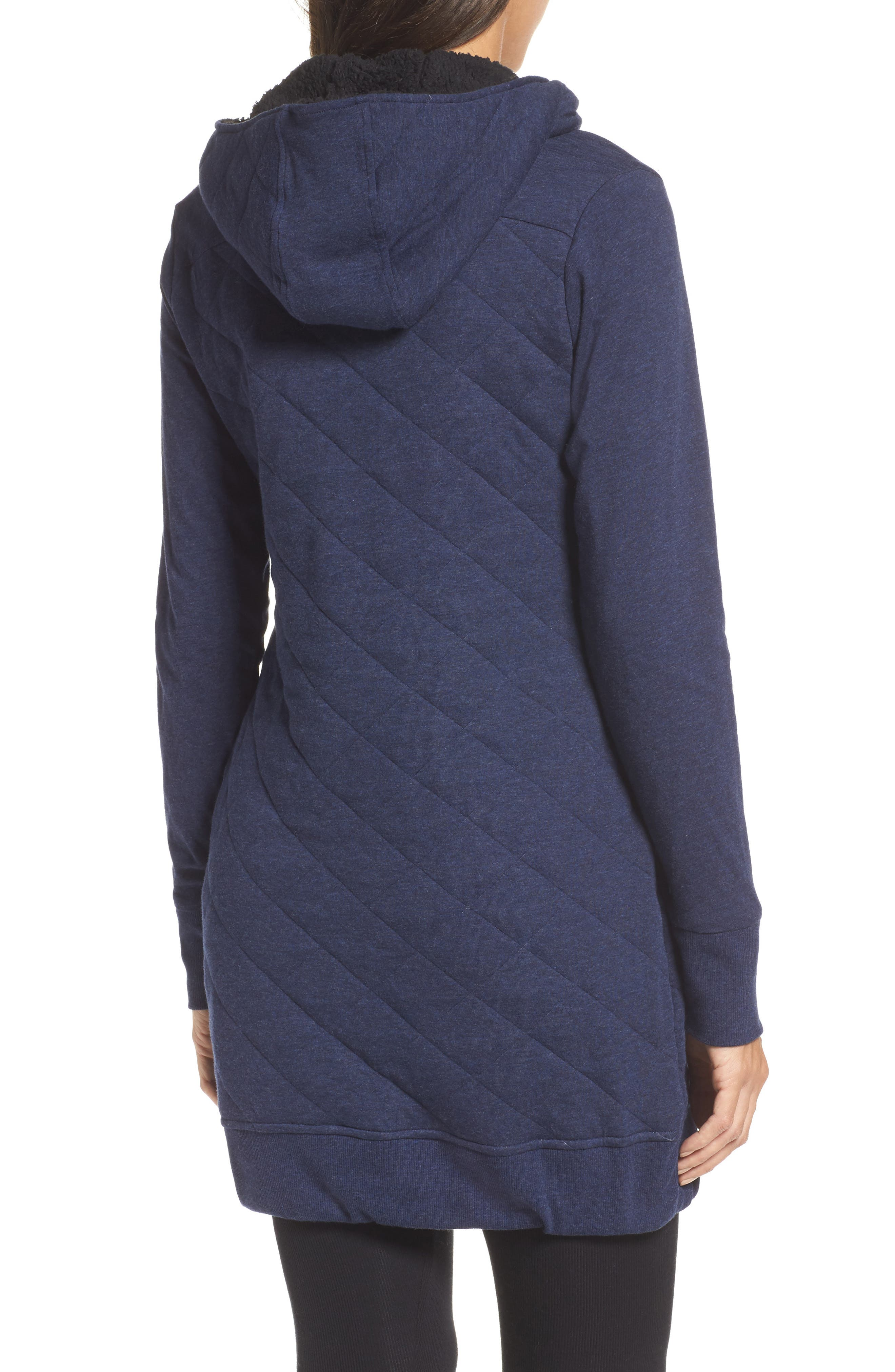 'Kayla' Quilted Hoodie,                             Alternate thumbnail 2, color,                             Navy Heather