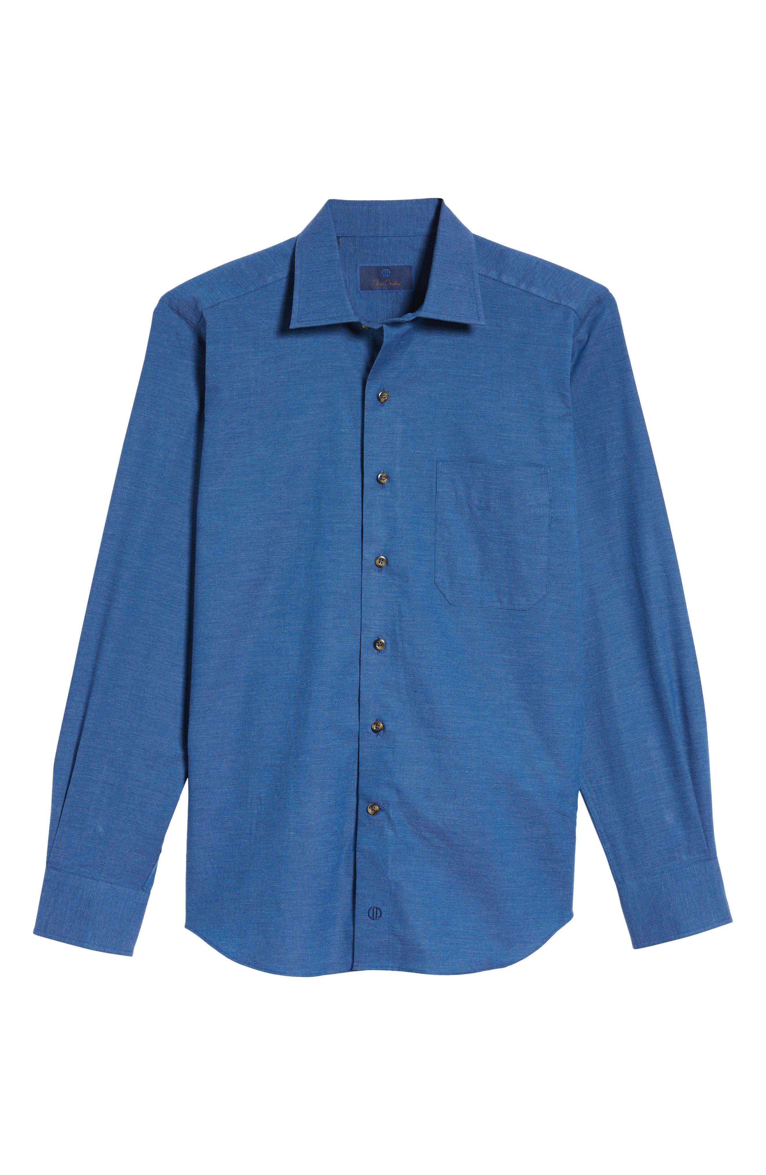 Regular Fit Woven Sport Shirt,                             Alternate thumbnail 6, color,                             Navy
