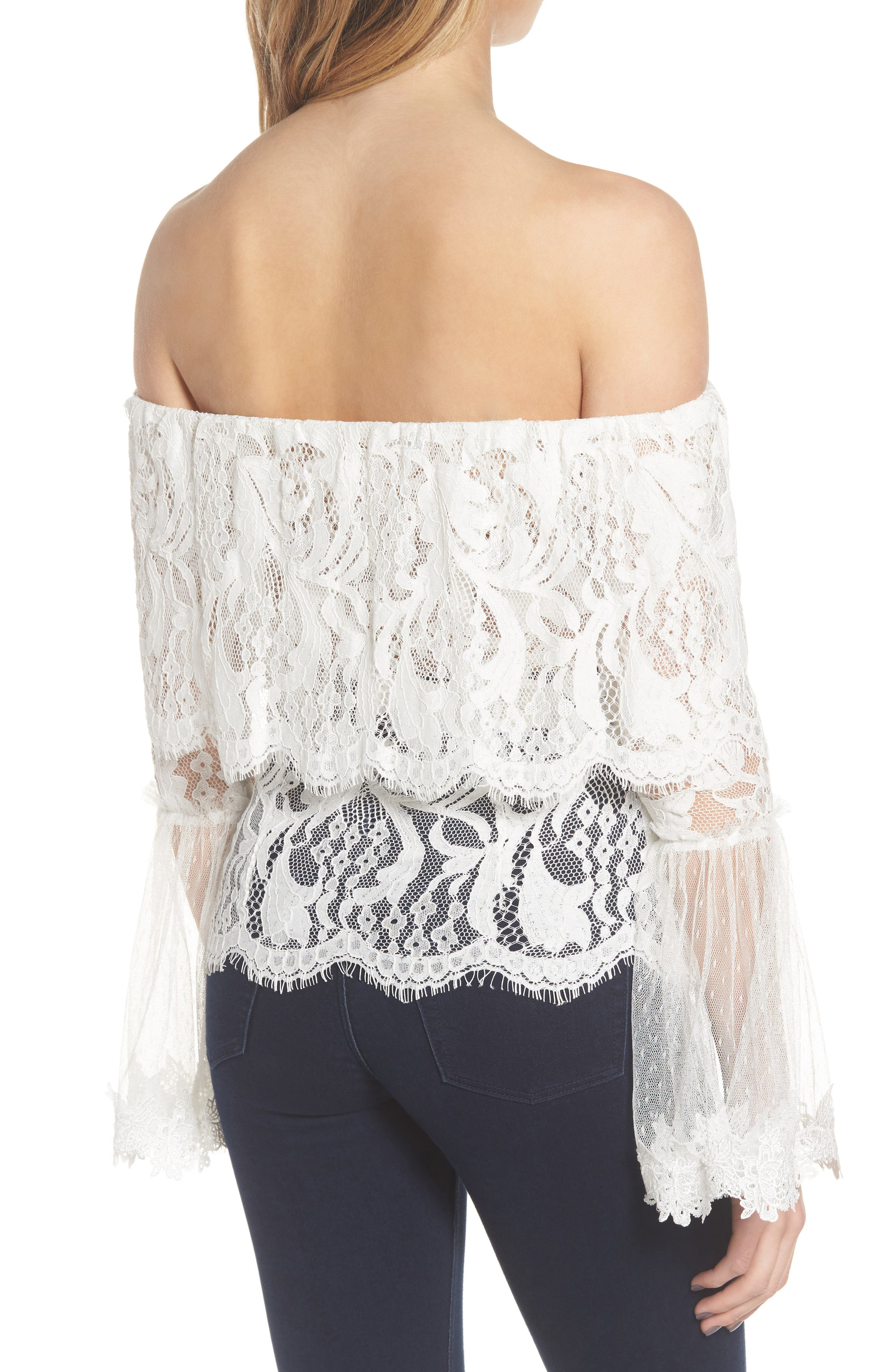 If You Dare Lace Off the Shoulder Blouse,                             Alternate thumbnail 2, color,                             Ivory