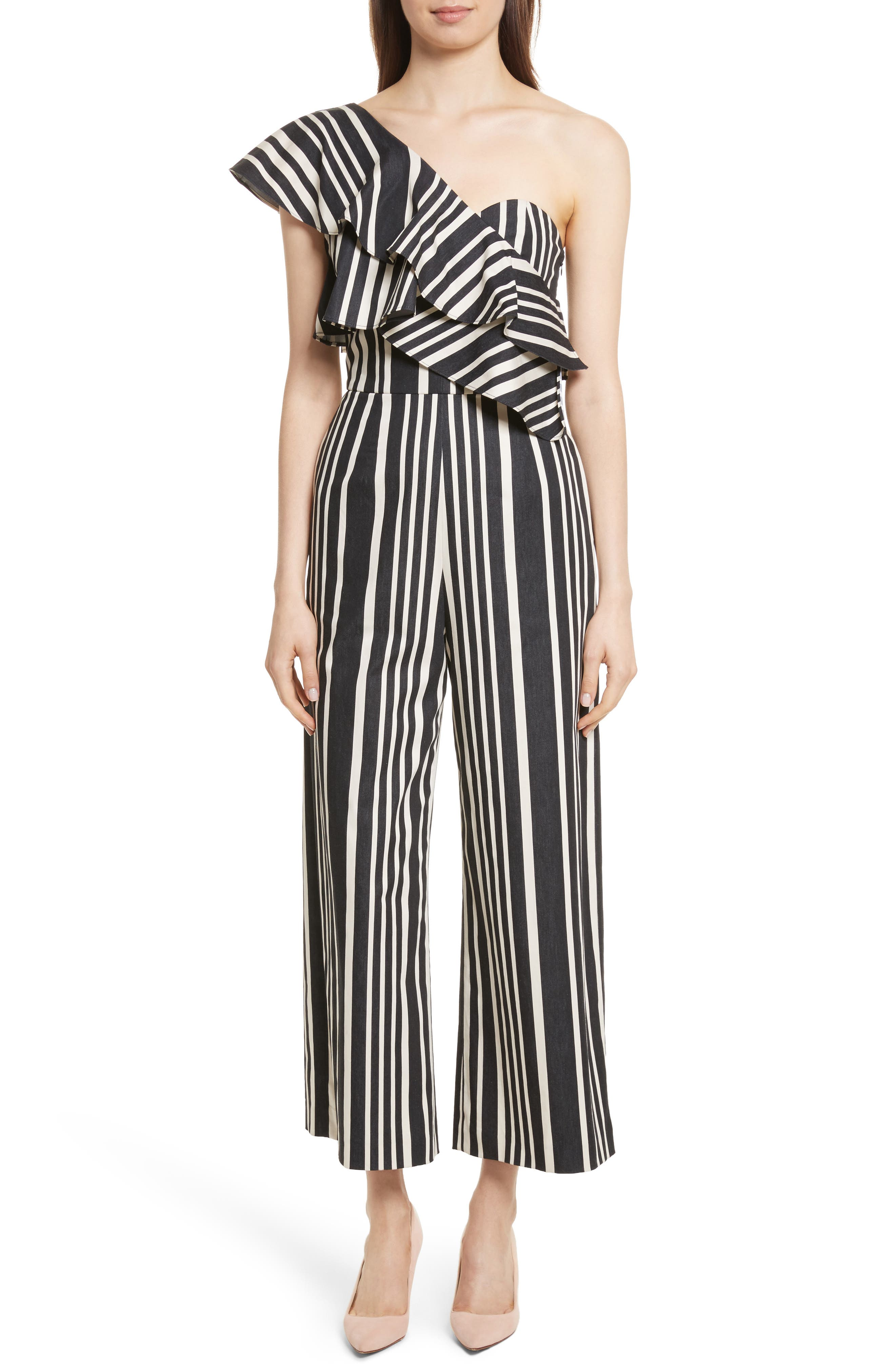 Sabeen Ruffle Stripe Crop Jumpsuit,                         Main,                         color, Black/ White