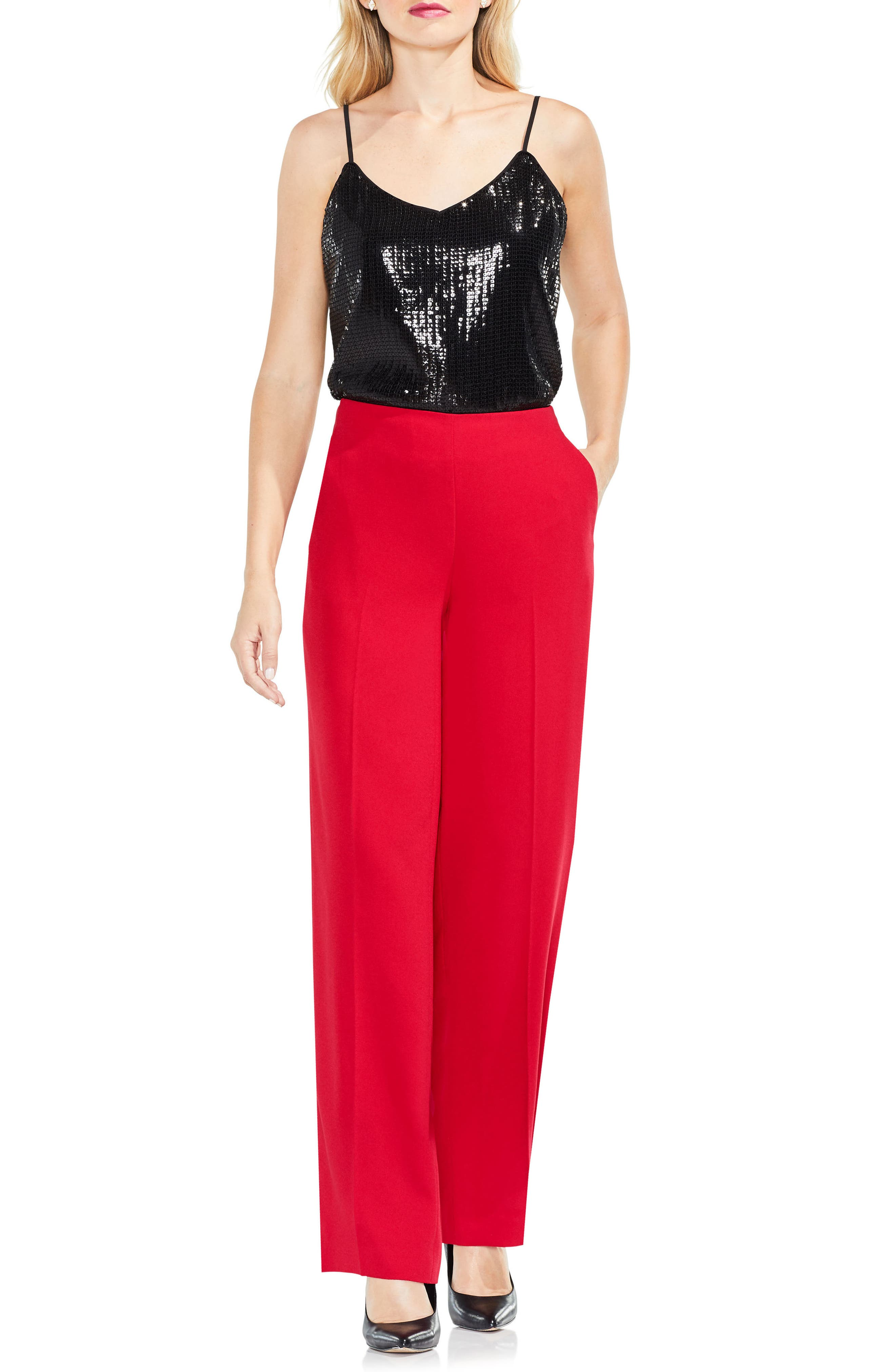 Wide Leg Pants,                             Alternate thumbnail 2, color,                             True Crimson
