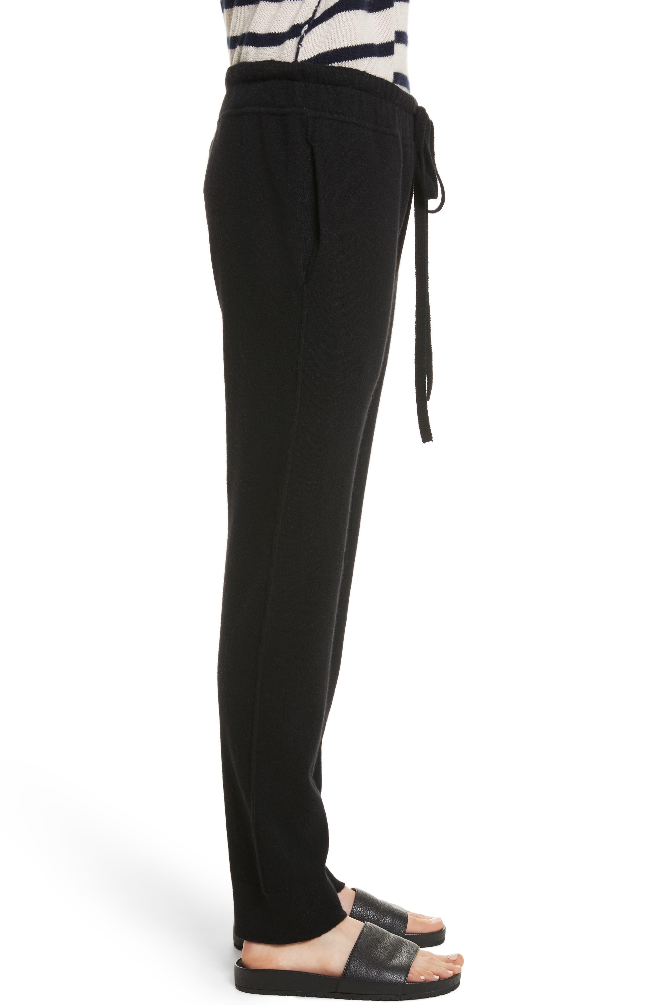 Wool & Cashmere Blend Jogger Pants,                             Alternate thumbnail 3, color,                             Black