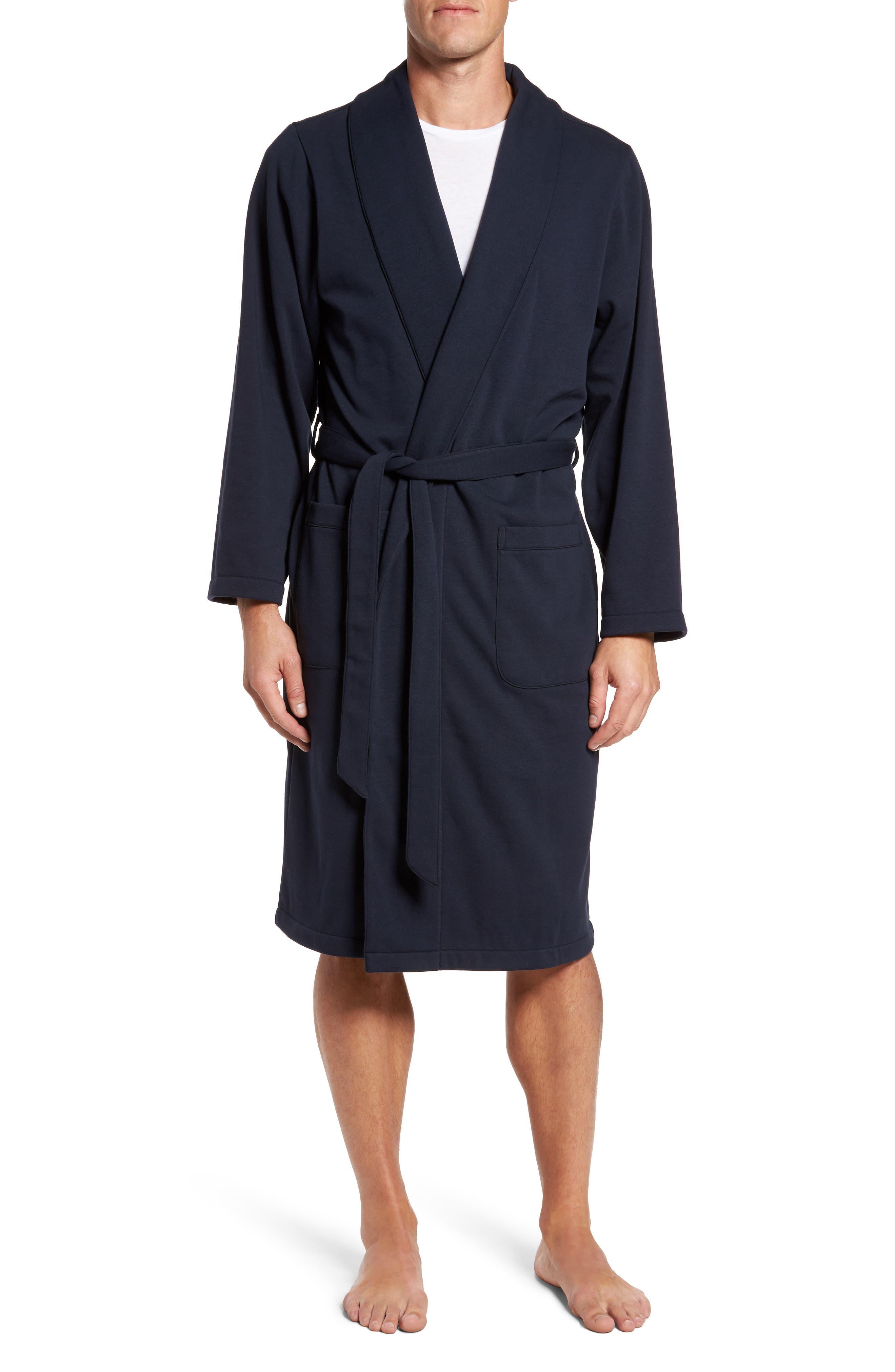 Jersey Fleece Robe,                         Main,                         color, Navy