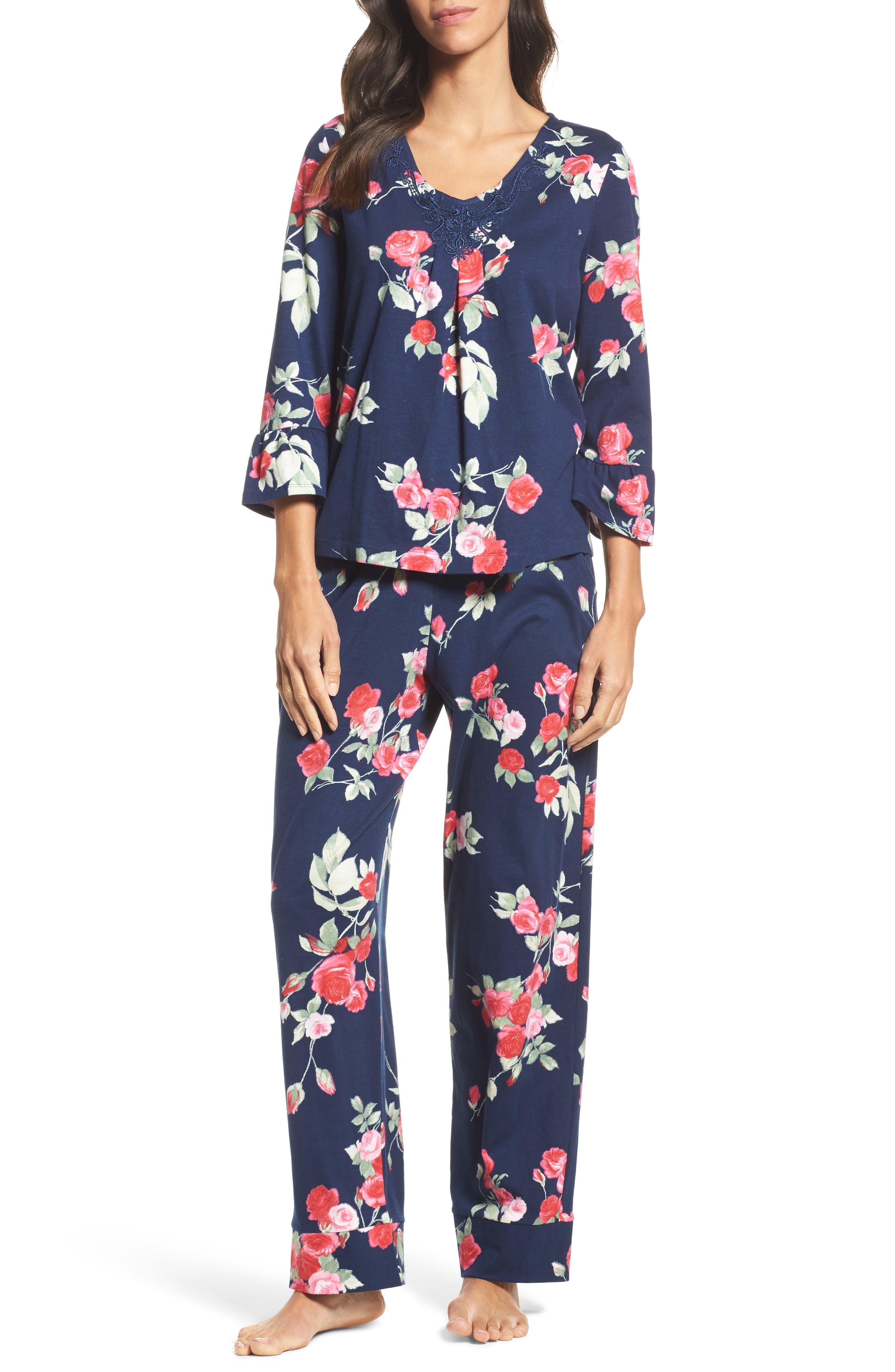 Floral Print Pajamas,                         Main,                         color, Painted Rose