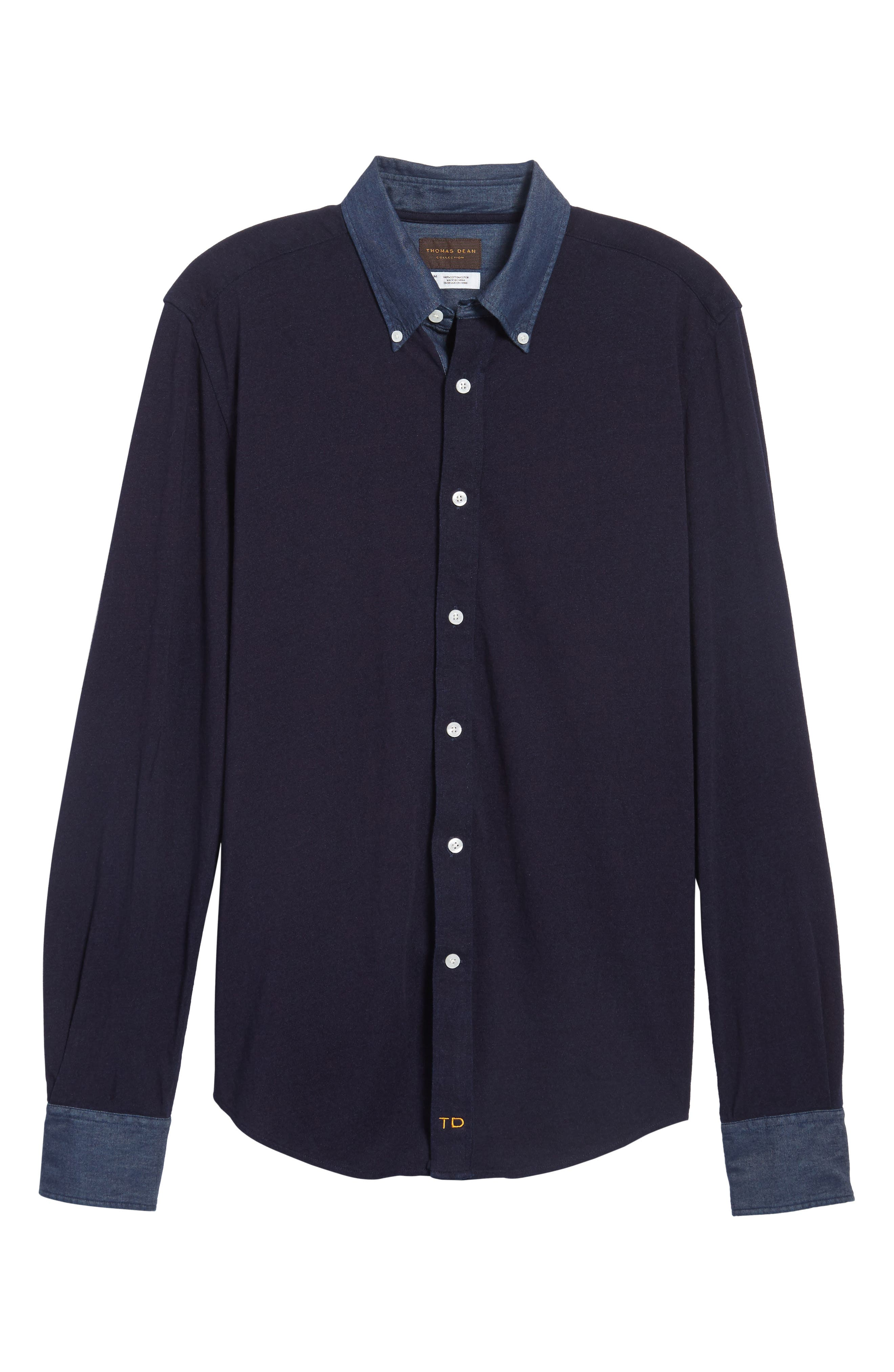 Regular Fit Chambray Trim Jersey Shirt,                             Alternate thumbnail 6, color,                             Indigo