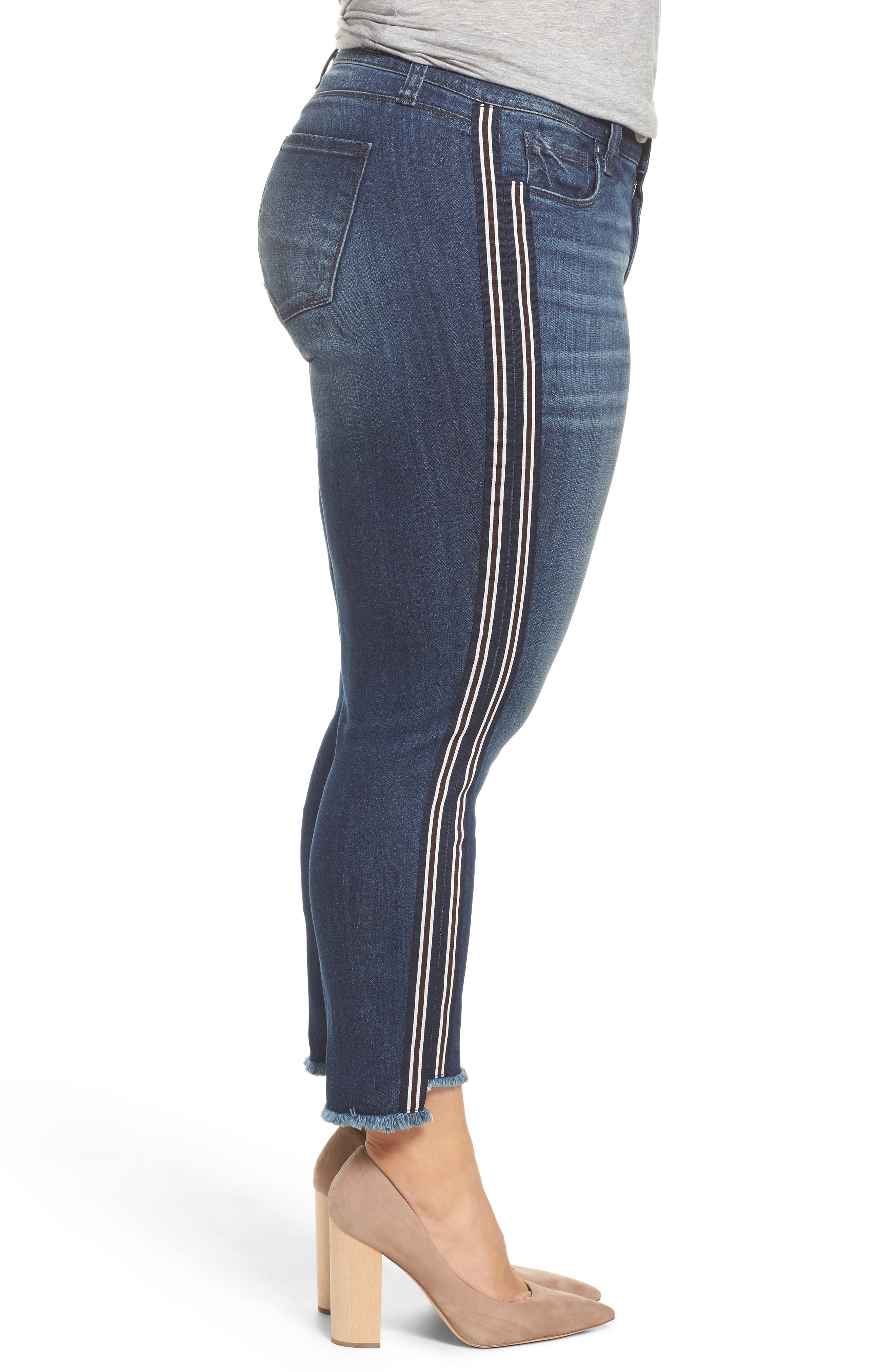 Alternate Image 3  - KUT from the Kloth Reese Side Stripe Uneven Ankle Jeans (Analyzed) (Plus Size)