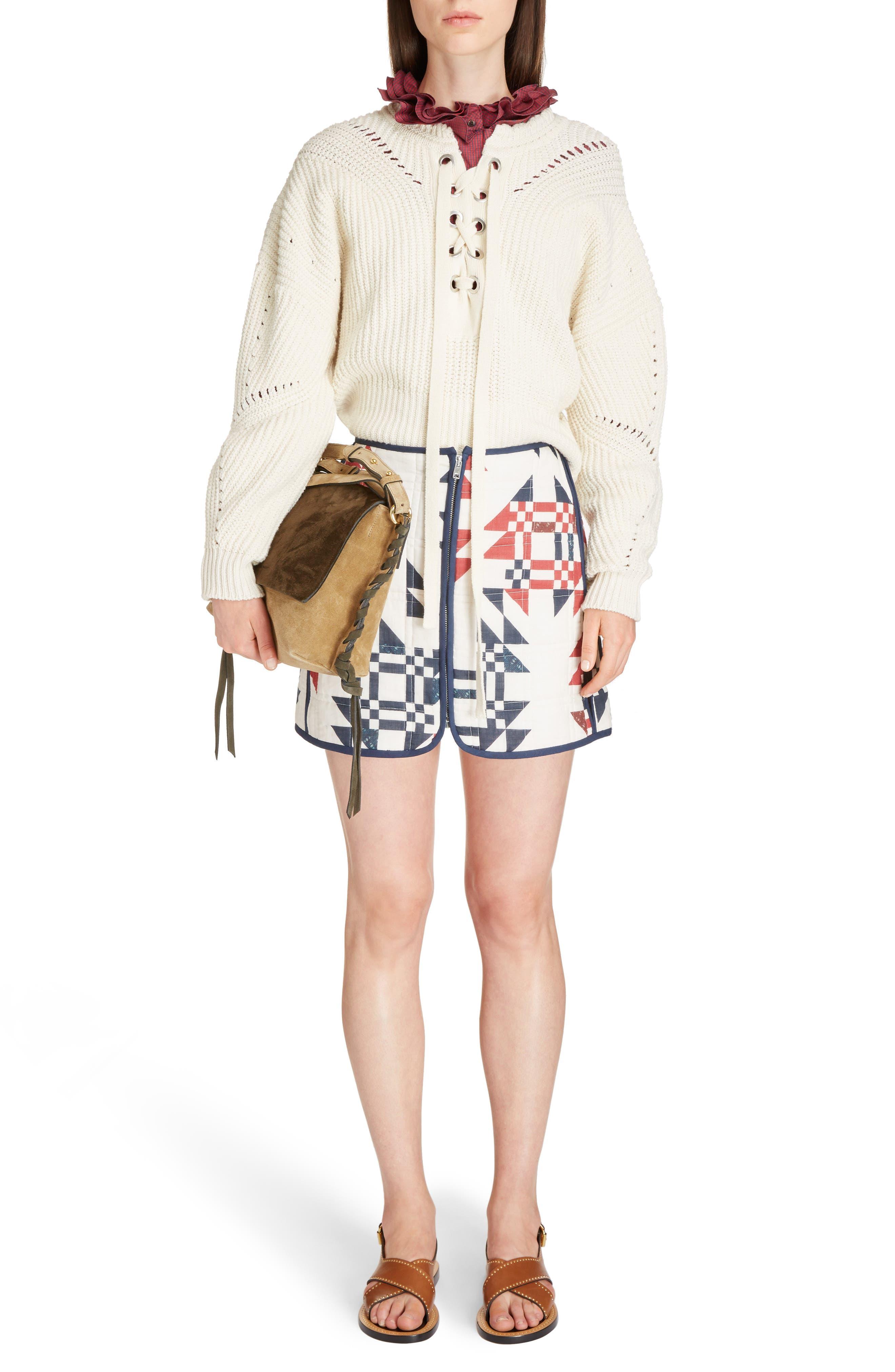 Laley Cotton & Wool Blend Sweater,                             Alternate thumbnail 6, color,                             Ecru