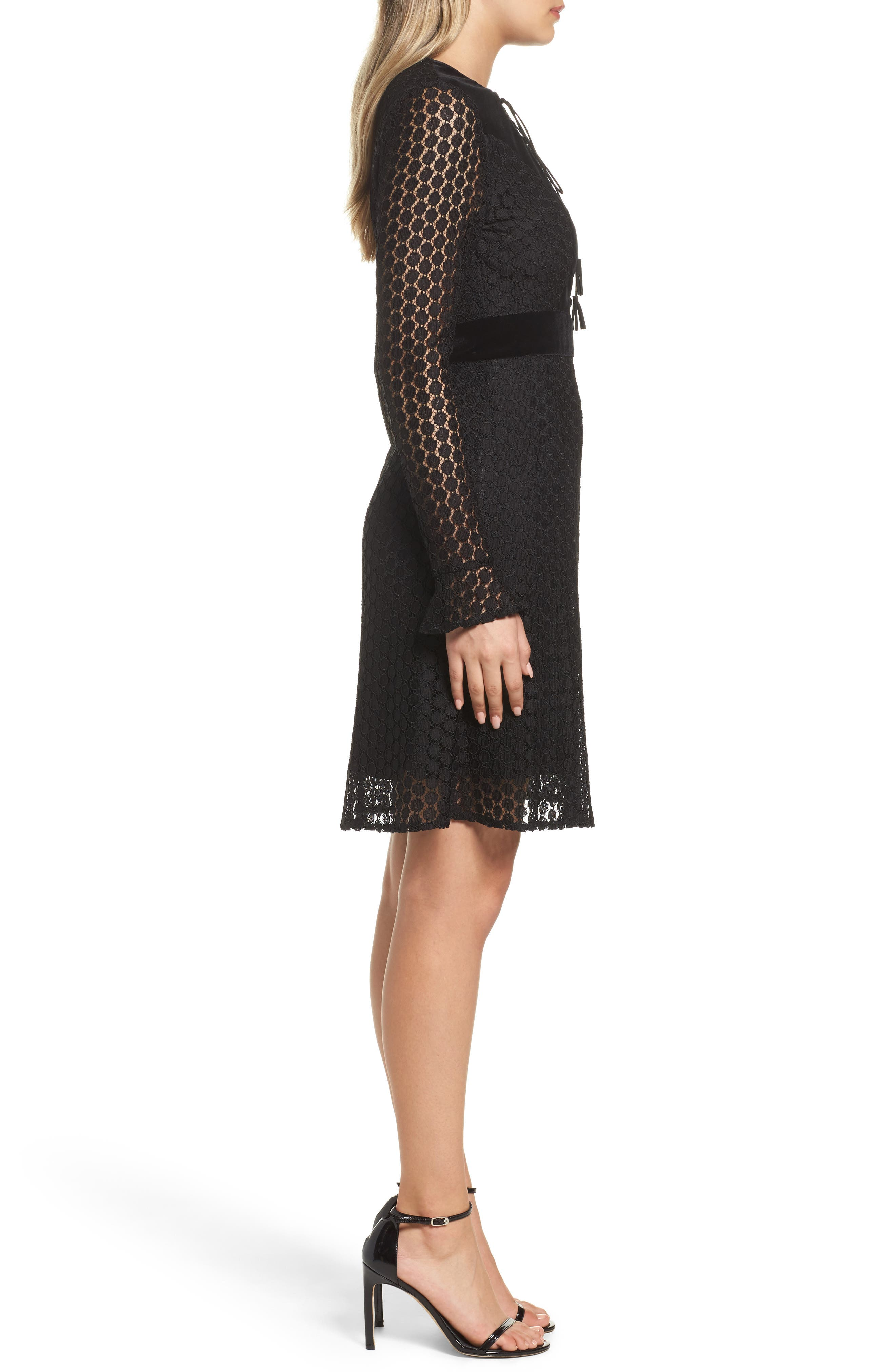 Alternate Image 3  - Foxiedox Pearl Lace & Velvet Fit & Flare Dress