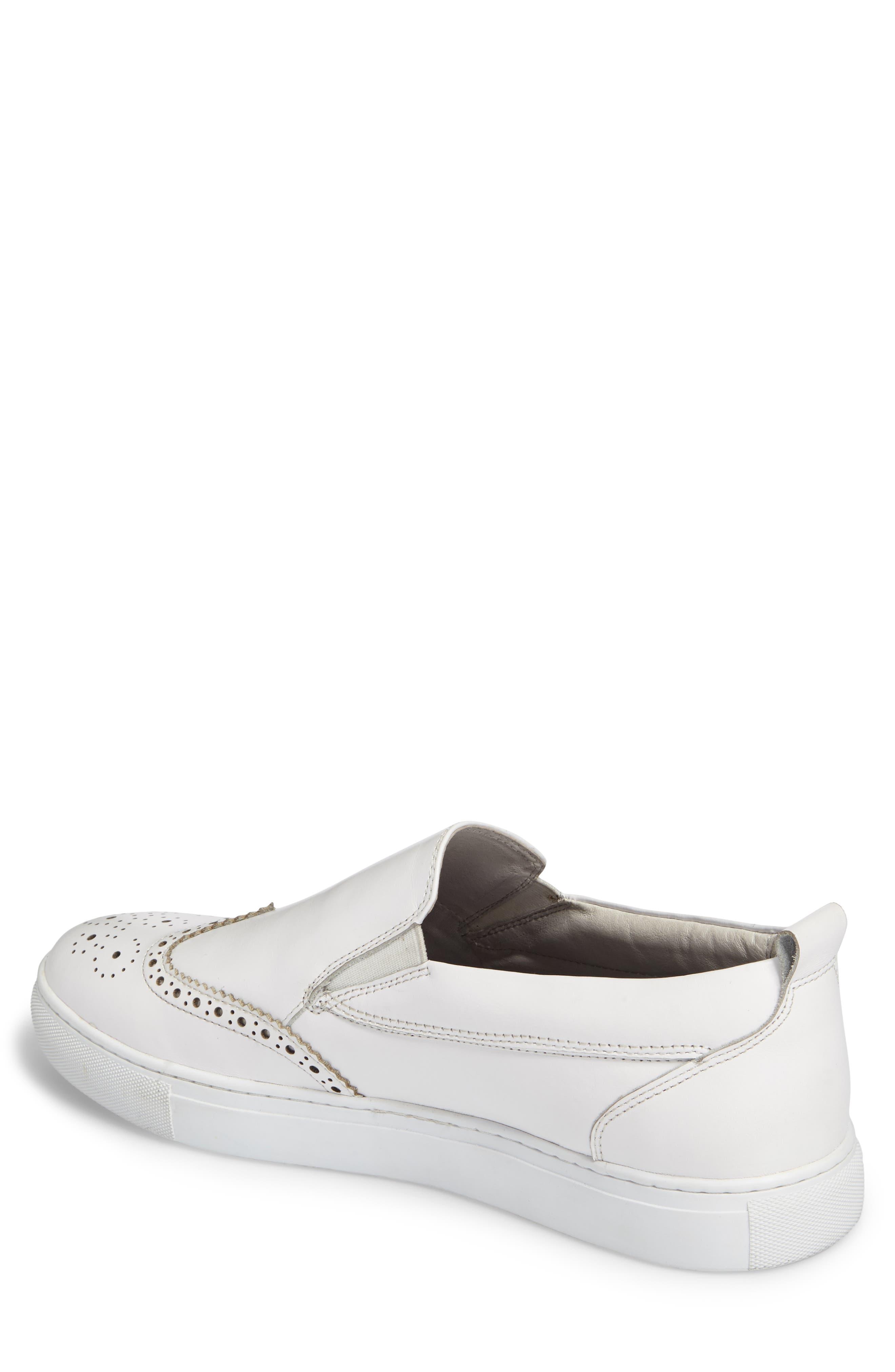 Ali Wingtip Slip-On Sneaker,                             Alternate thumbnail 2, color,                             White Leather