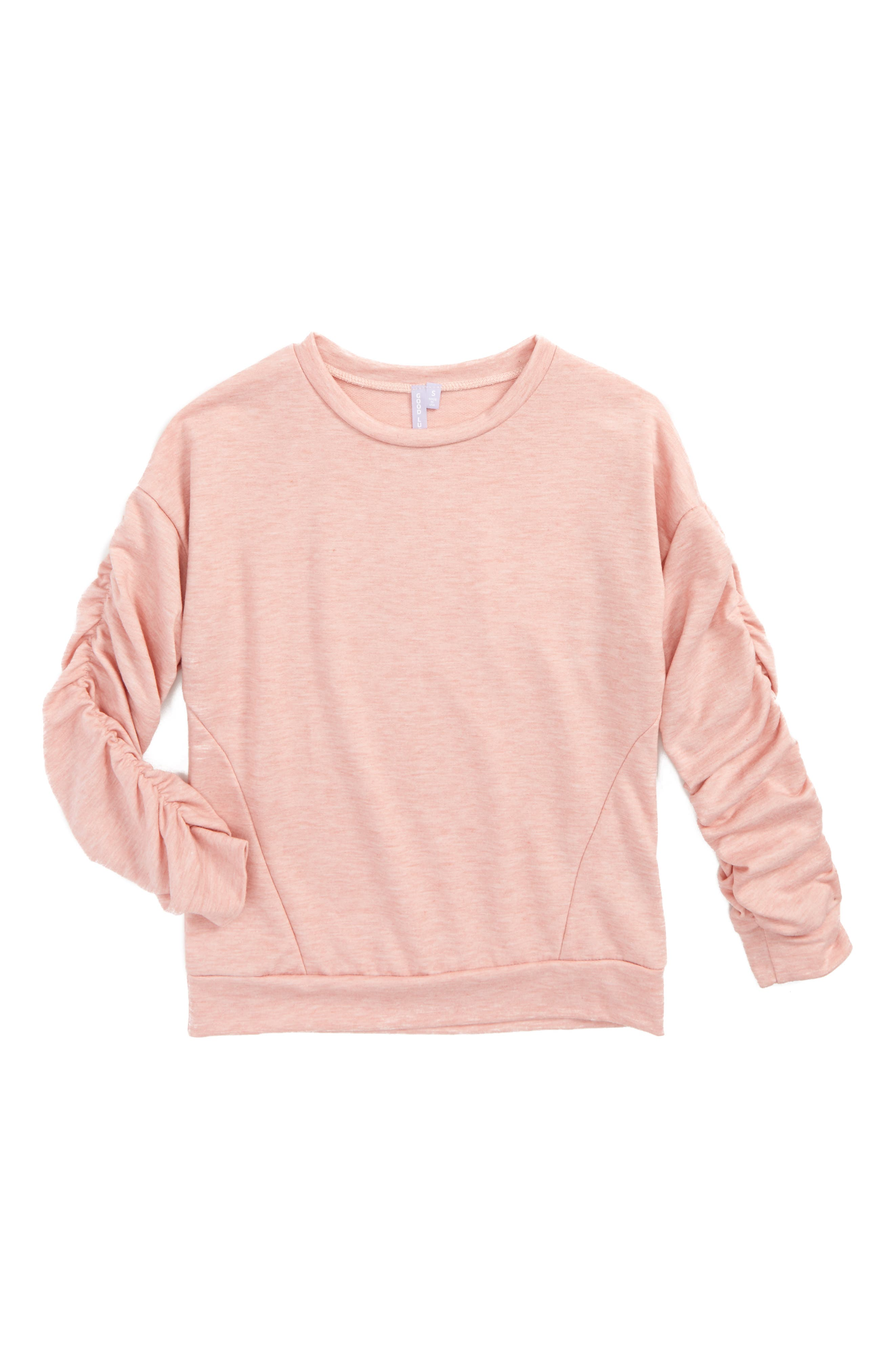 Ruched Sleeve Sweatshirt,                         Main,                         color, Heather Old Rose