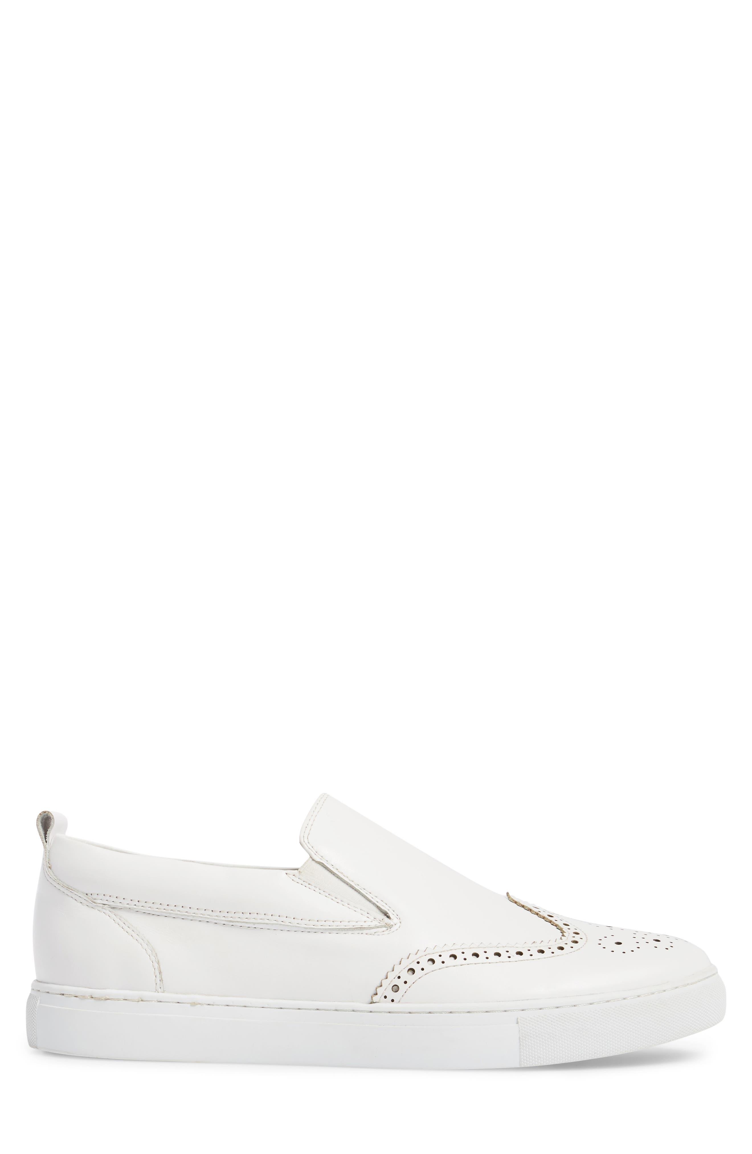 Ali Wingtip Slip-On Sneaker,                             Alternate thumbnail 3, color,                             White Leather